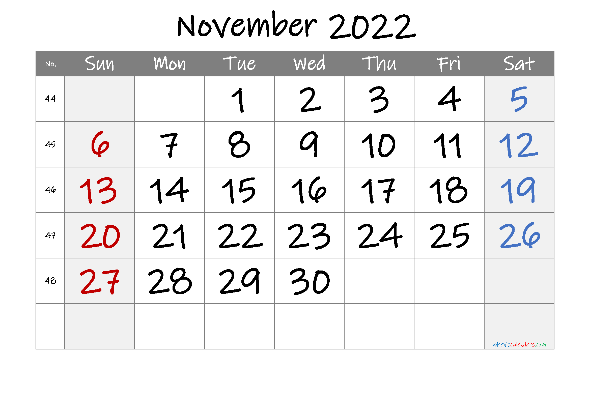 November 2022 Printable Calendar with Week Numbers