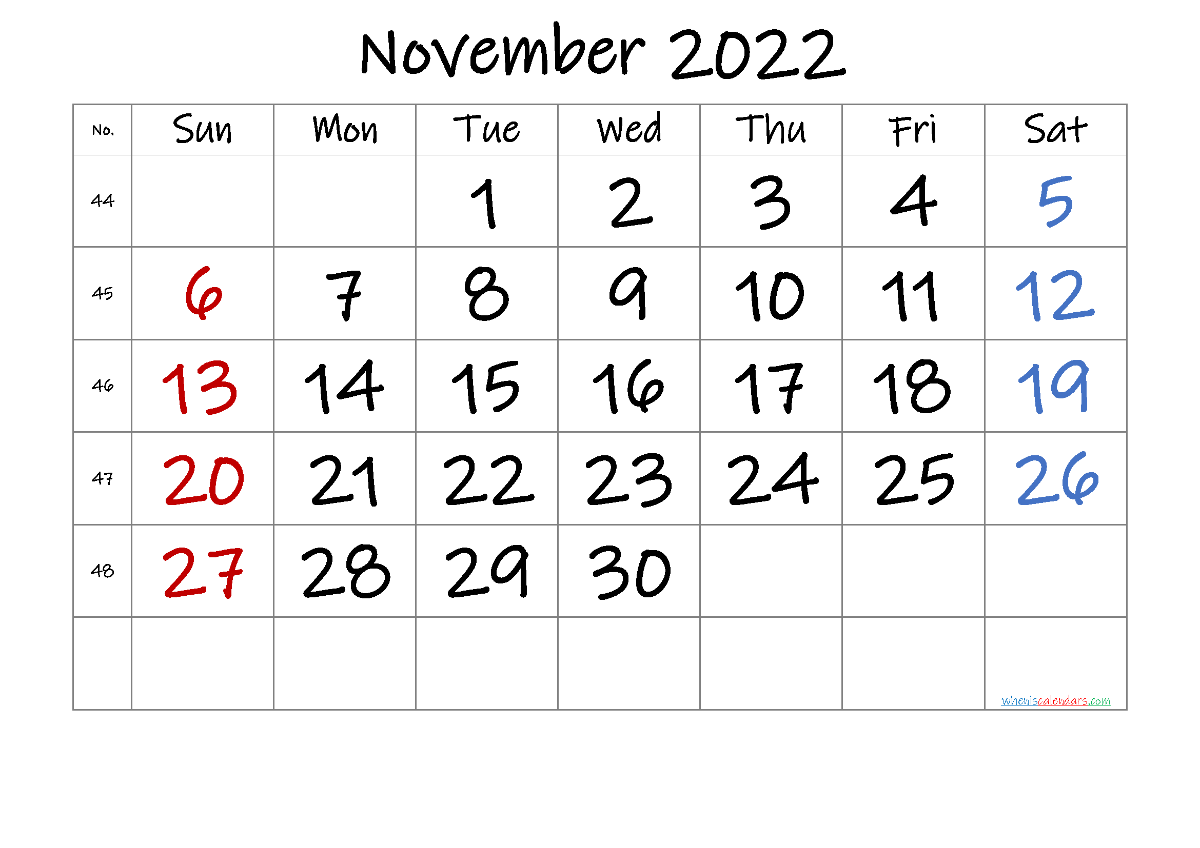 Free November 2022 Calendar with Week Numbers
