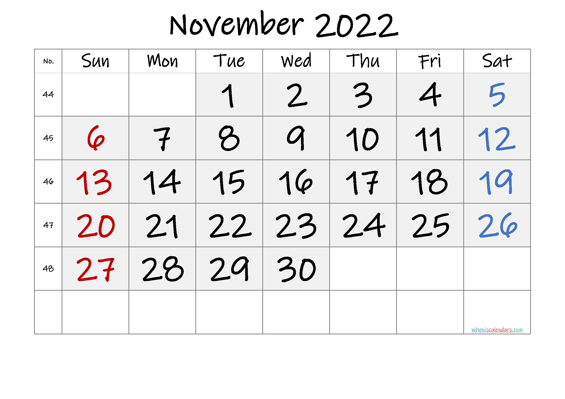 Free Printable November 2022 Calendar with Week Numbers