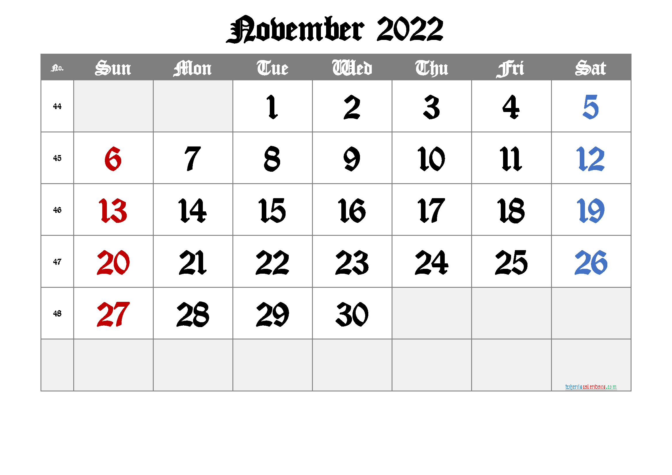 2022 November Free Printable Calendar