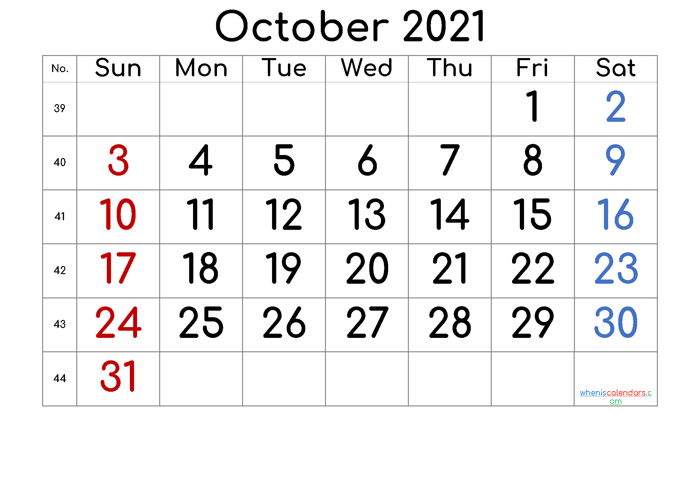 October 2021 Printable Calendar with Week Numbers