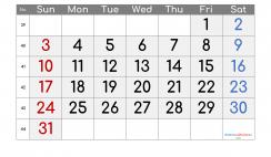 Free October 2021 Calendar with Week Numbers