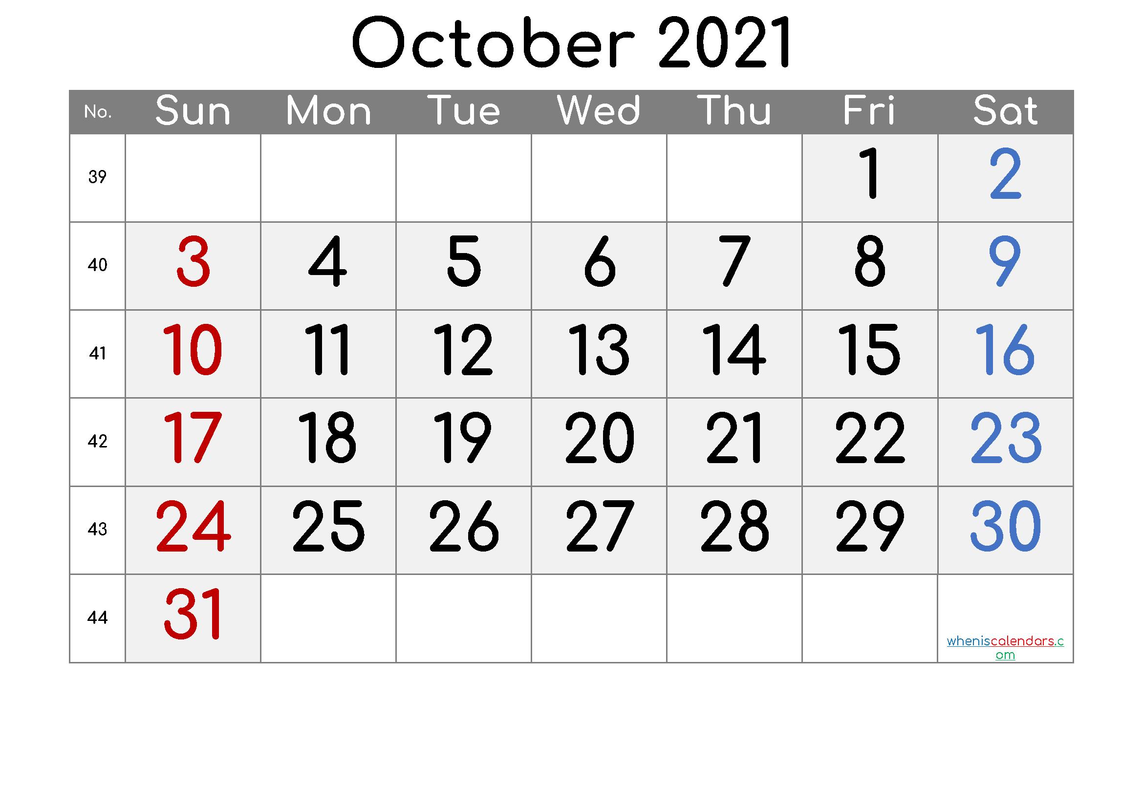 Free October 2021 Calendar