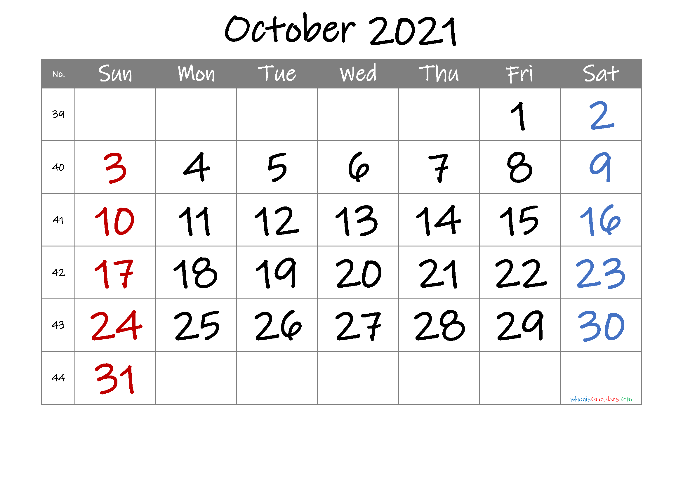 2021 October Free Printable Calendar