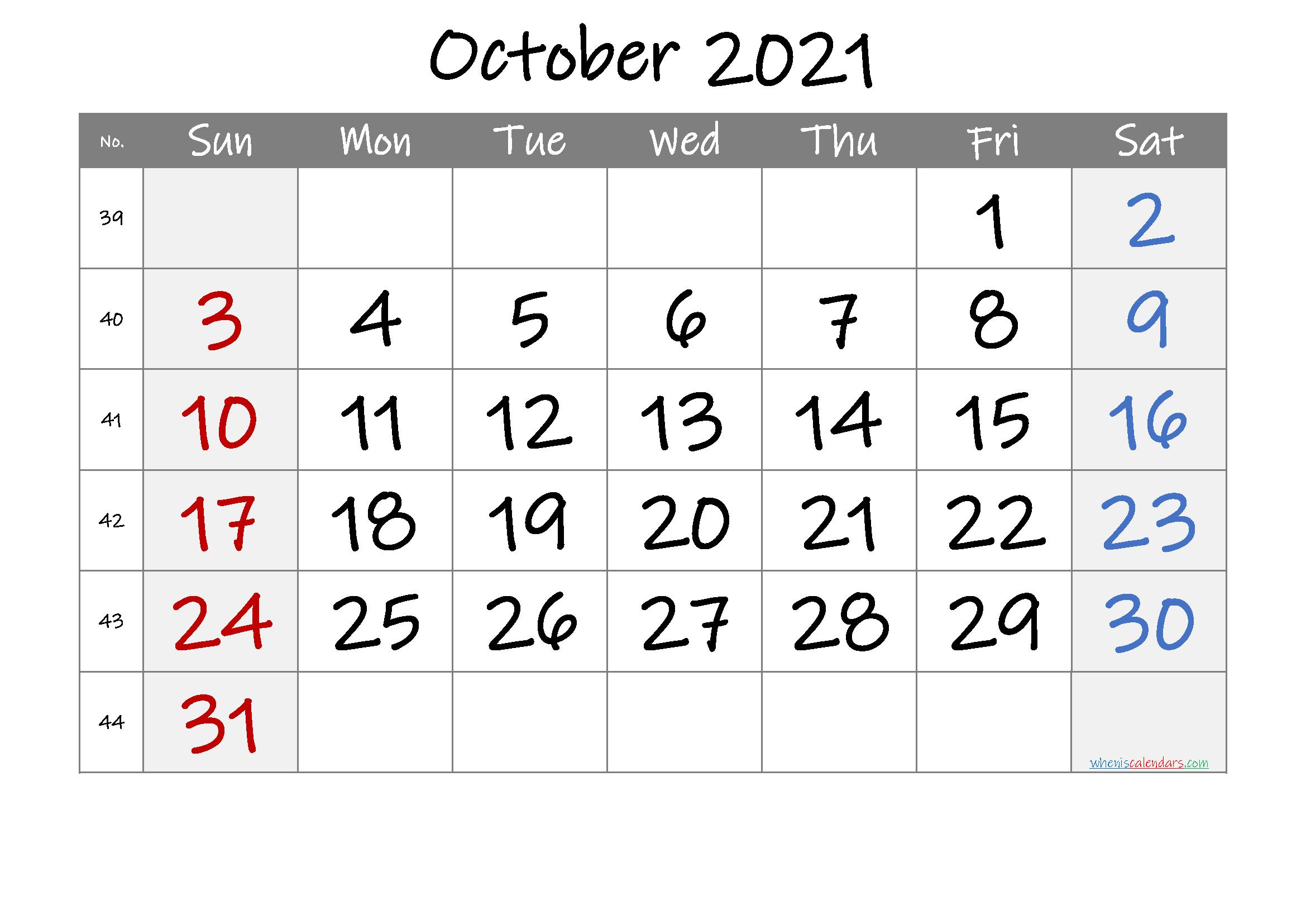 October 2021 Printable Calendar with Week Numbers