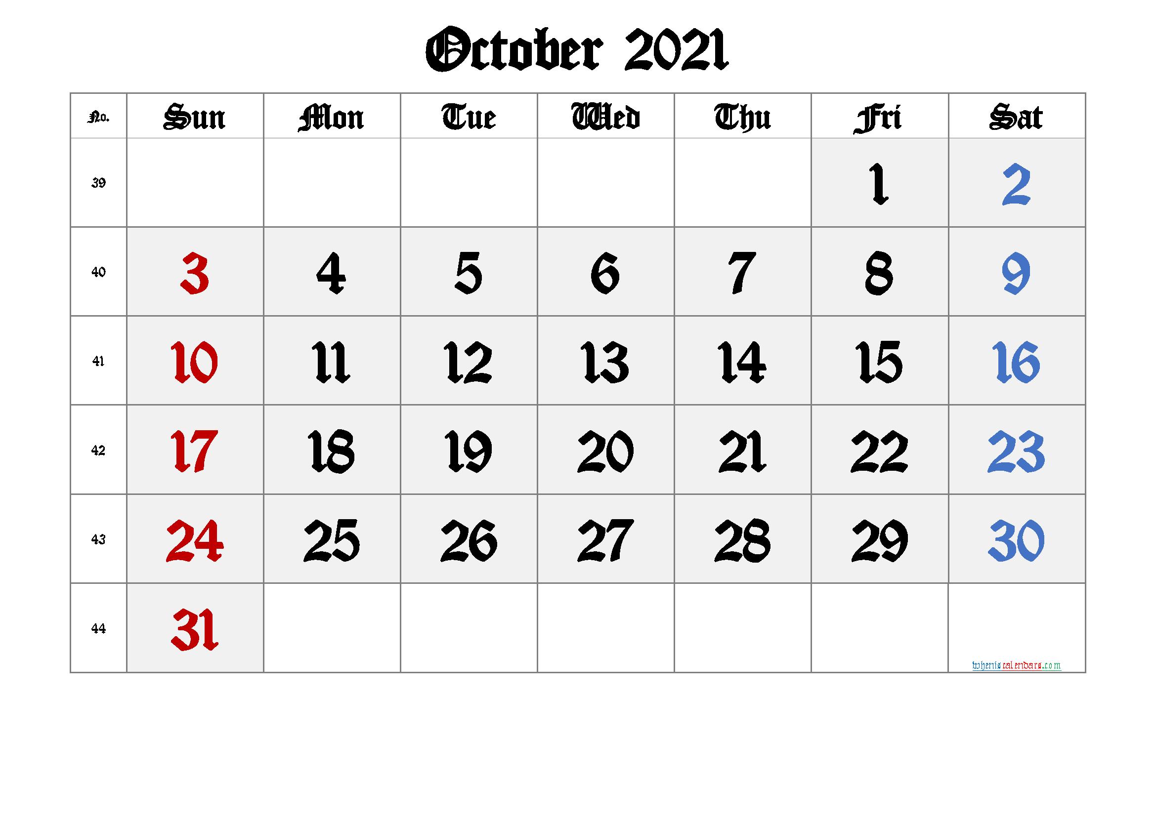 Printable October 2021 Calendar with Week Numbers