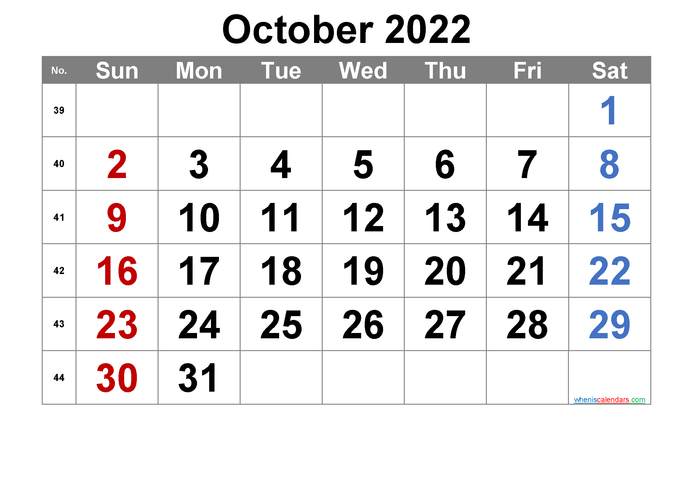 Printable October 2022 Calendar with Week Numbers