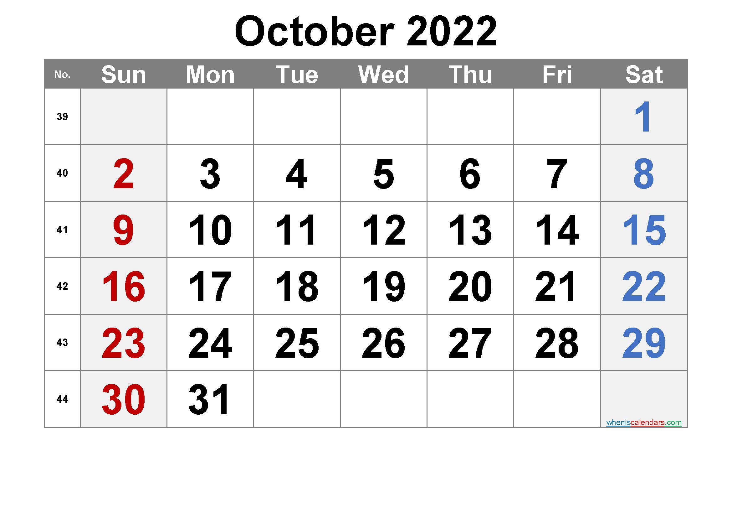 Free October 2022 Calendar with Week Numbers
