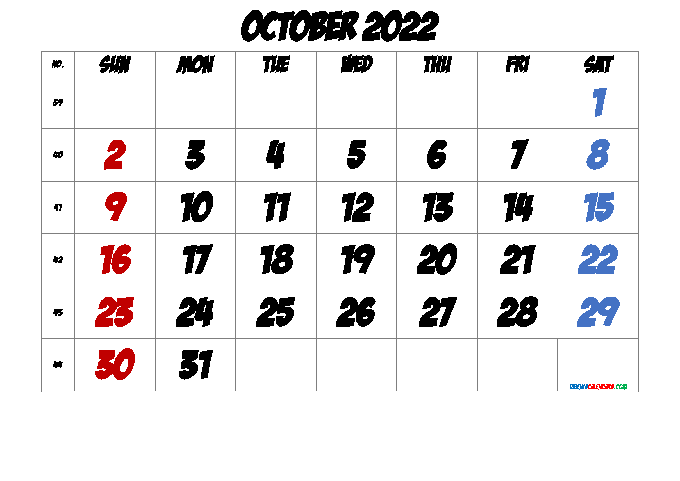 Free October 2022 Calendar with Week Numbers