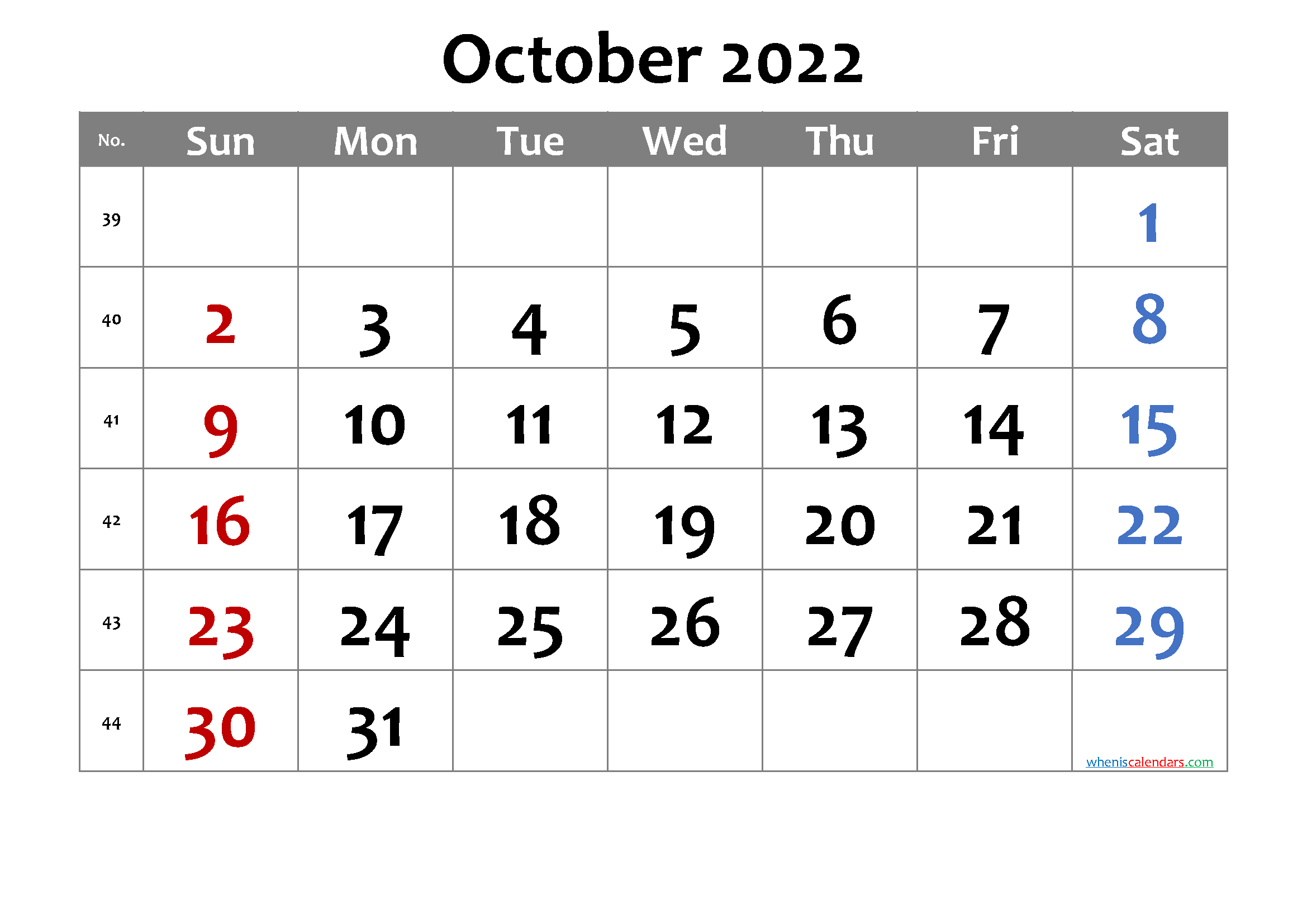 Free Printable October 2022 Calendar with Week Numbers