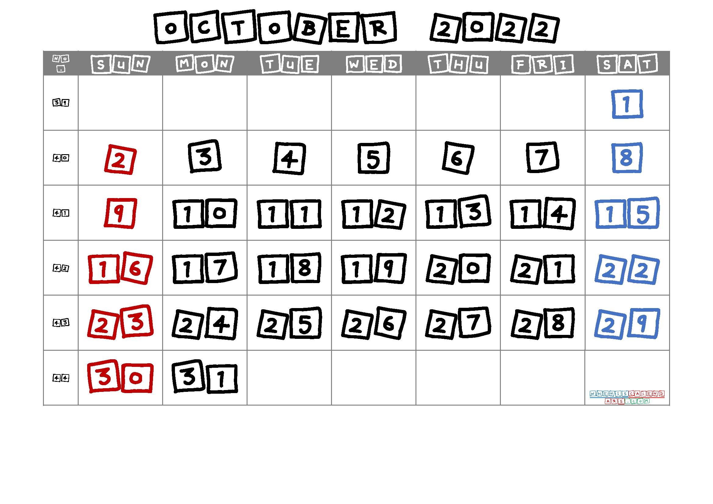 Free Printable October 2022 Calendar with Week Numbers