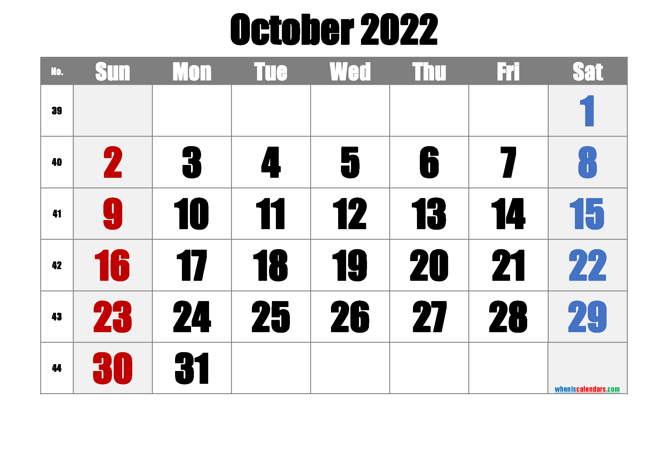 Free October 2022 Calendar