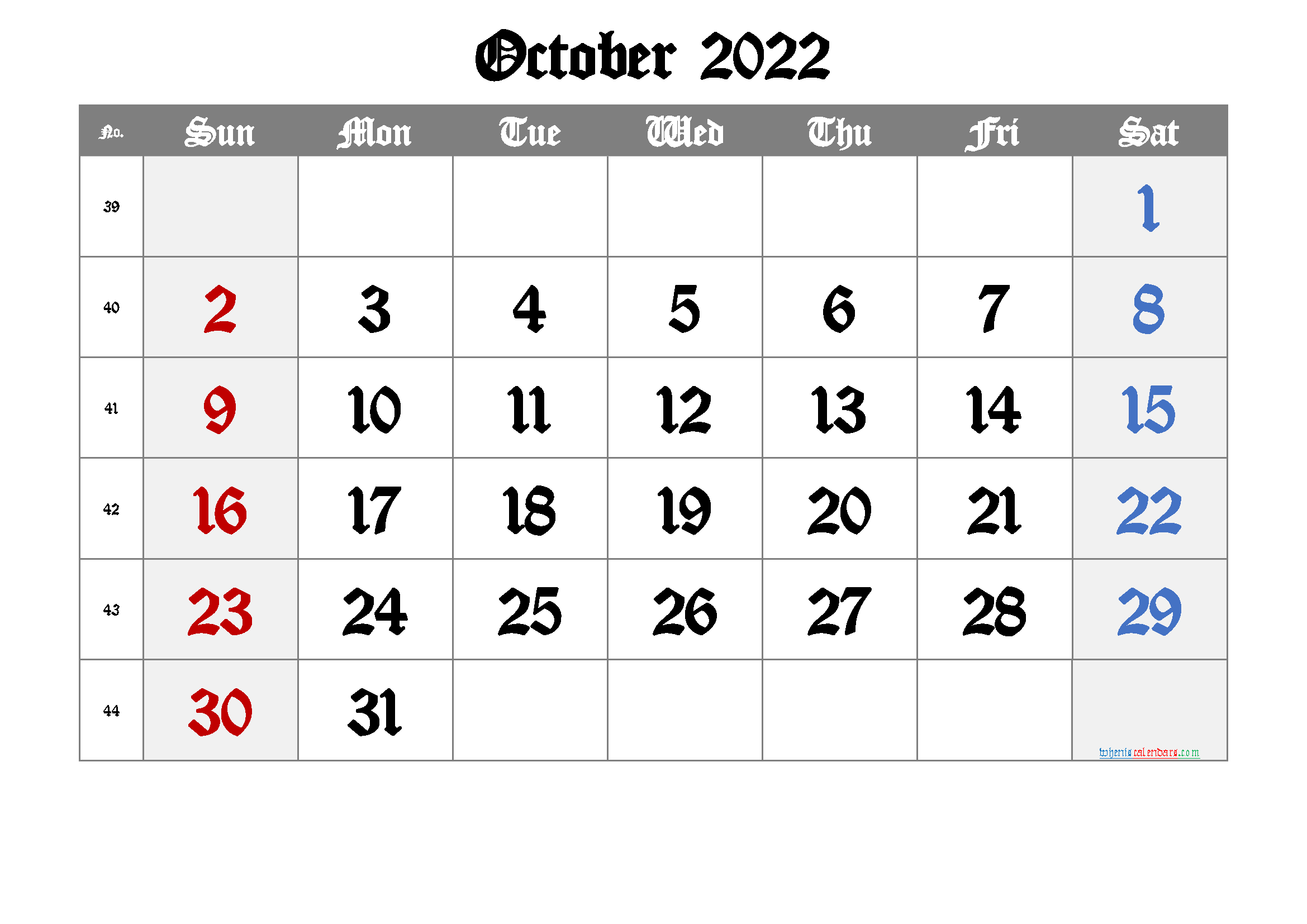 Printable Calendar 2022 October