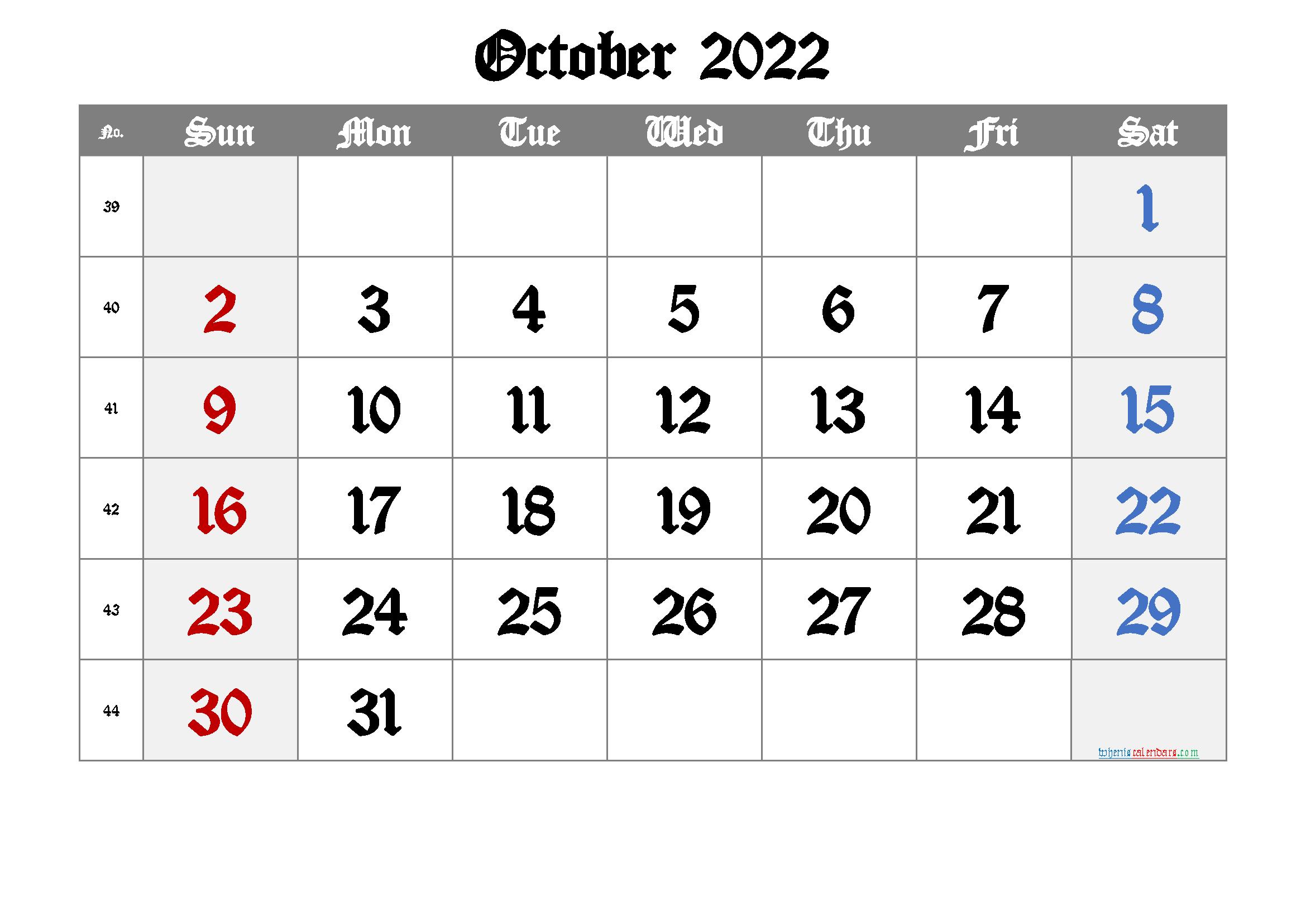 Free Printable Calendar 2022 October
