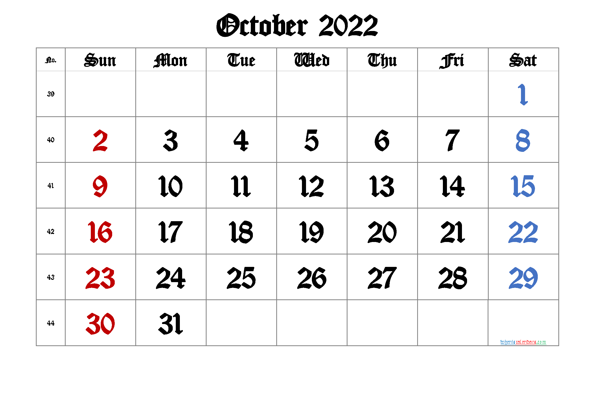 October 2022 Printable Calendar with Week Numbers