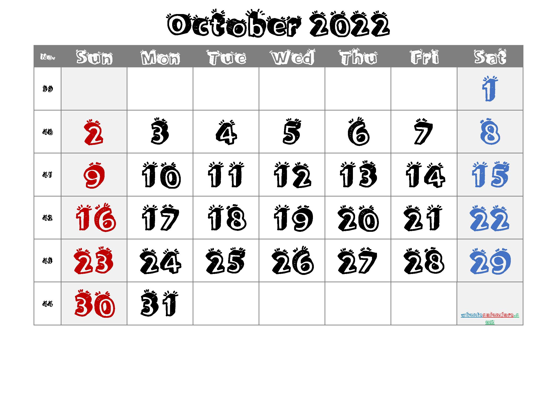 Printable Calendar October 2022