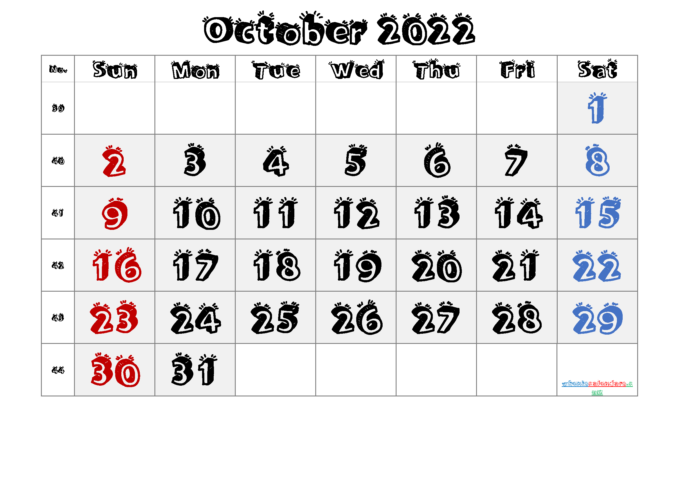 2022 October Free Printable Calendar