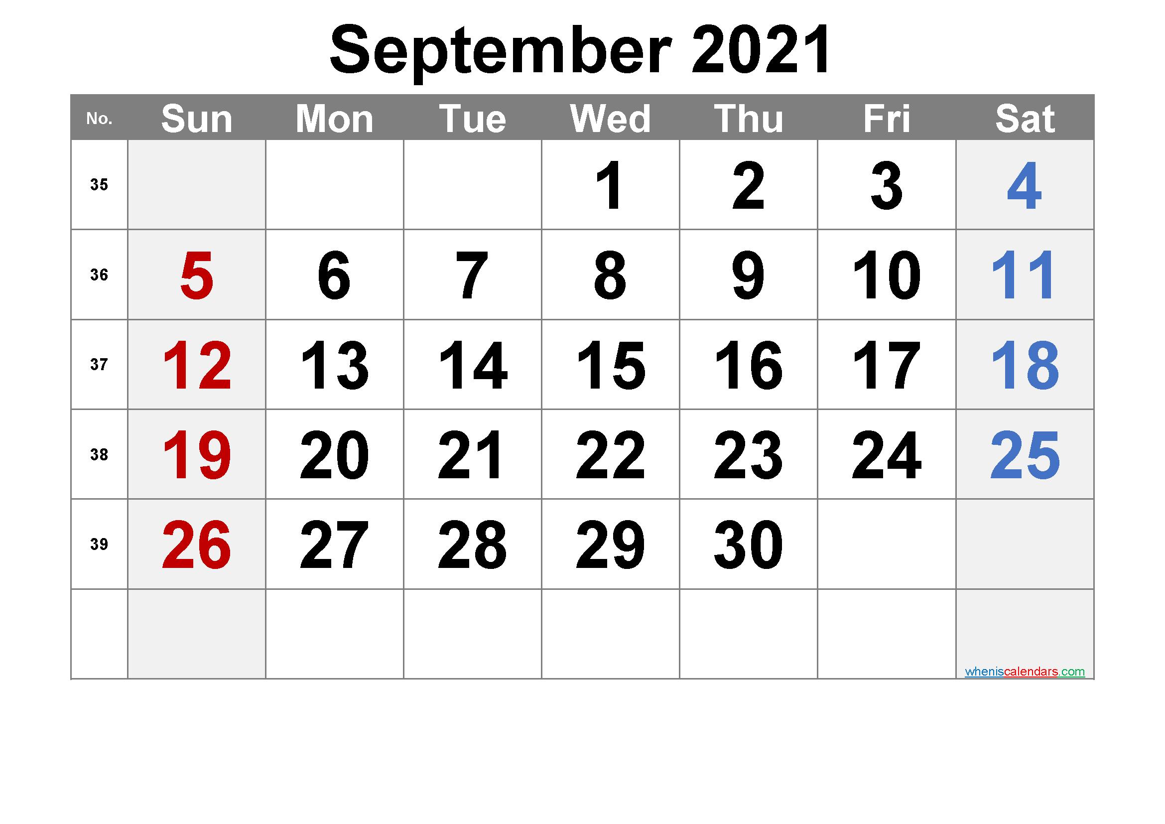 Free September 2021 Calendar