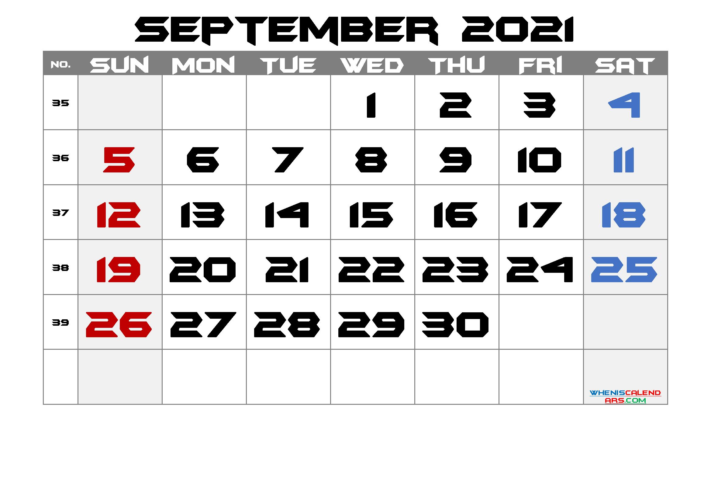 Free Printable Calendar 2021 September