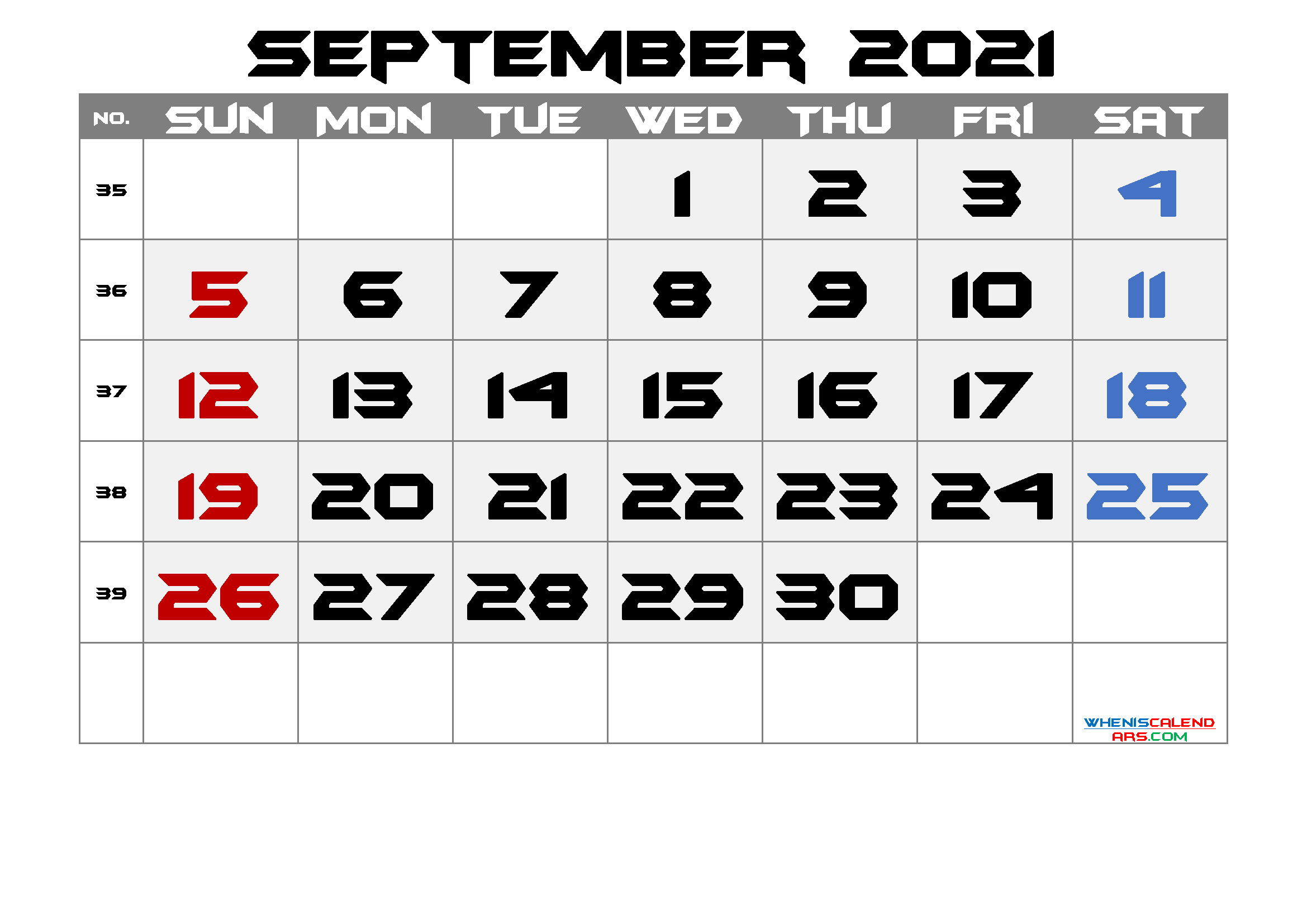 Free September 2021 Calendar with Week Numbers