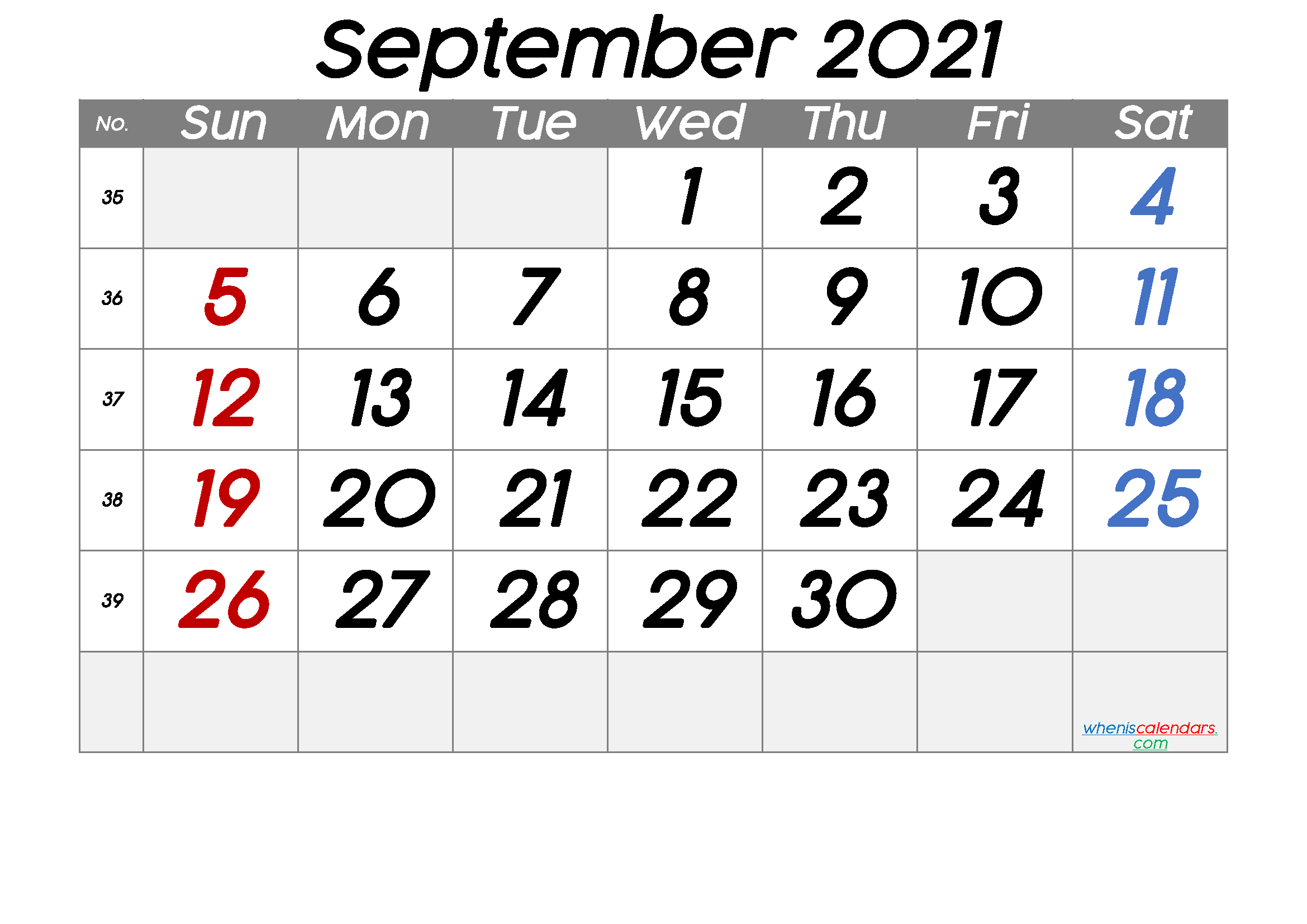 Free Printable September 2021 Calendar with Week Numbers