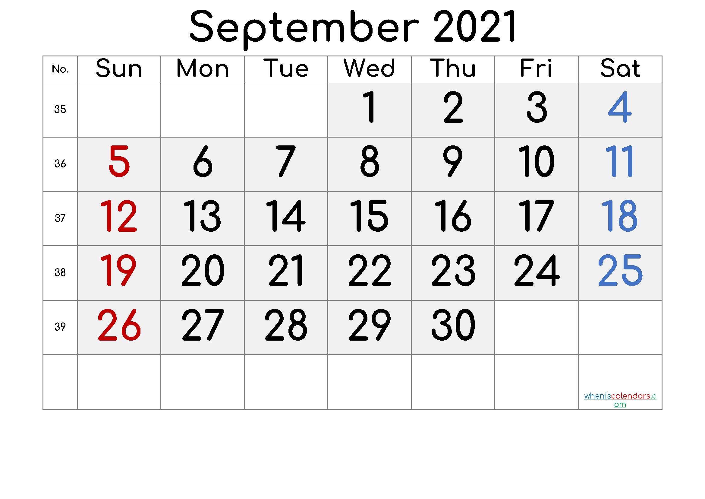 Printable September 2021 Calendar with Week Numbers