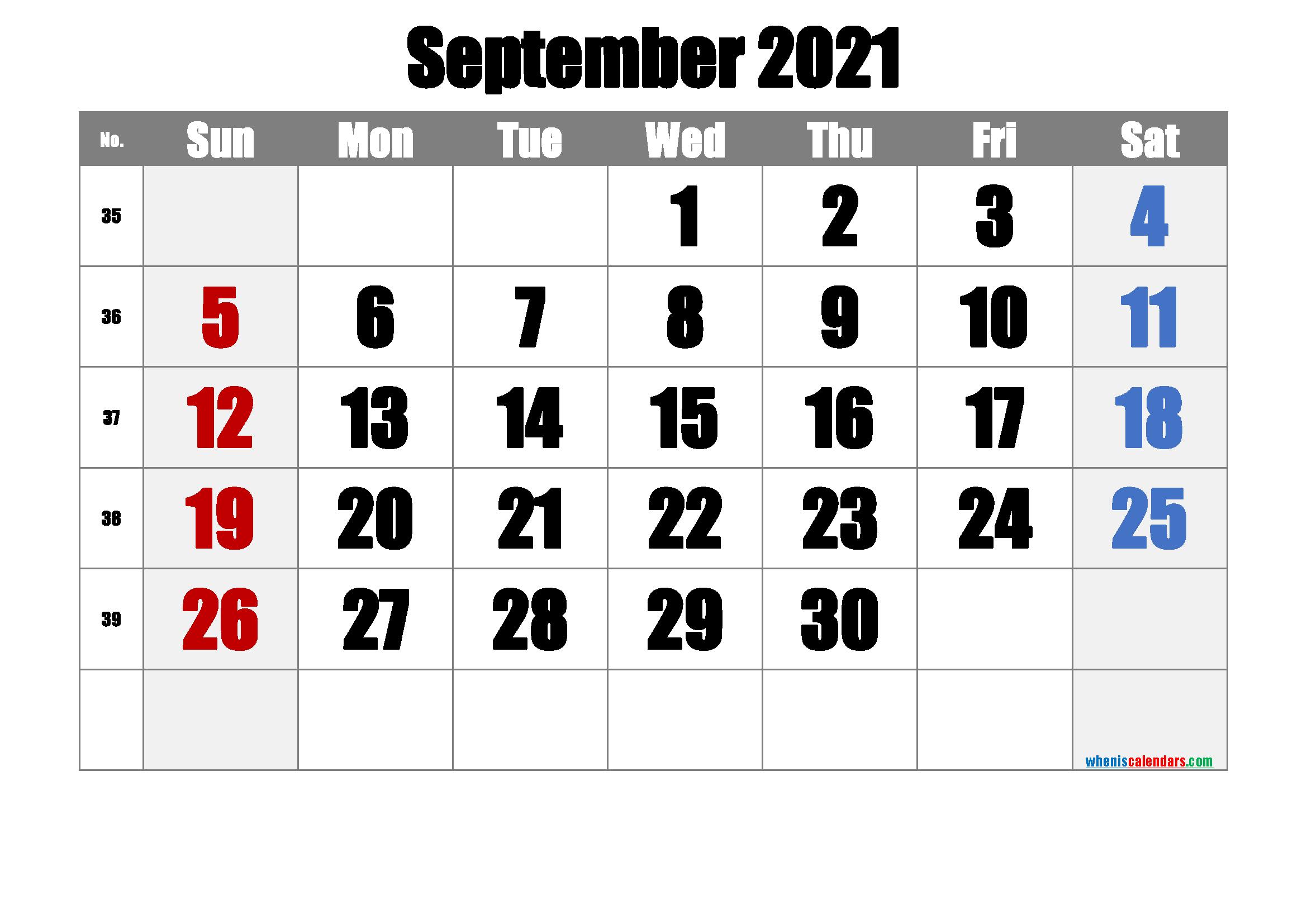 September 2021 Printable Calendar - 6 Templates - Free ...