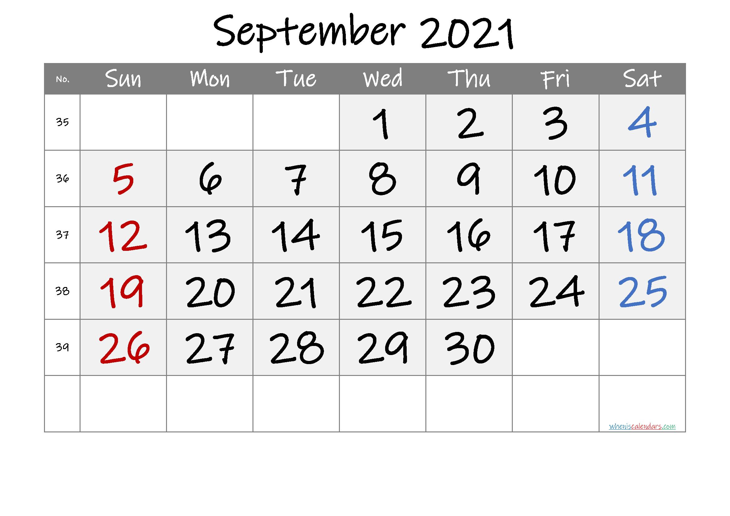 Printable Calendar September 2021