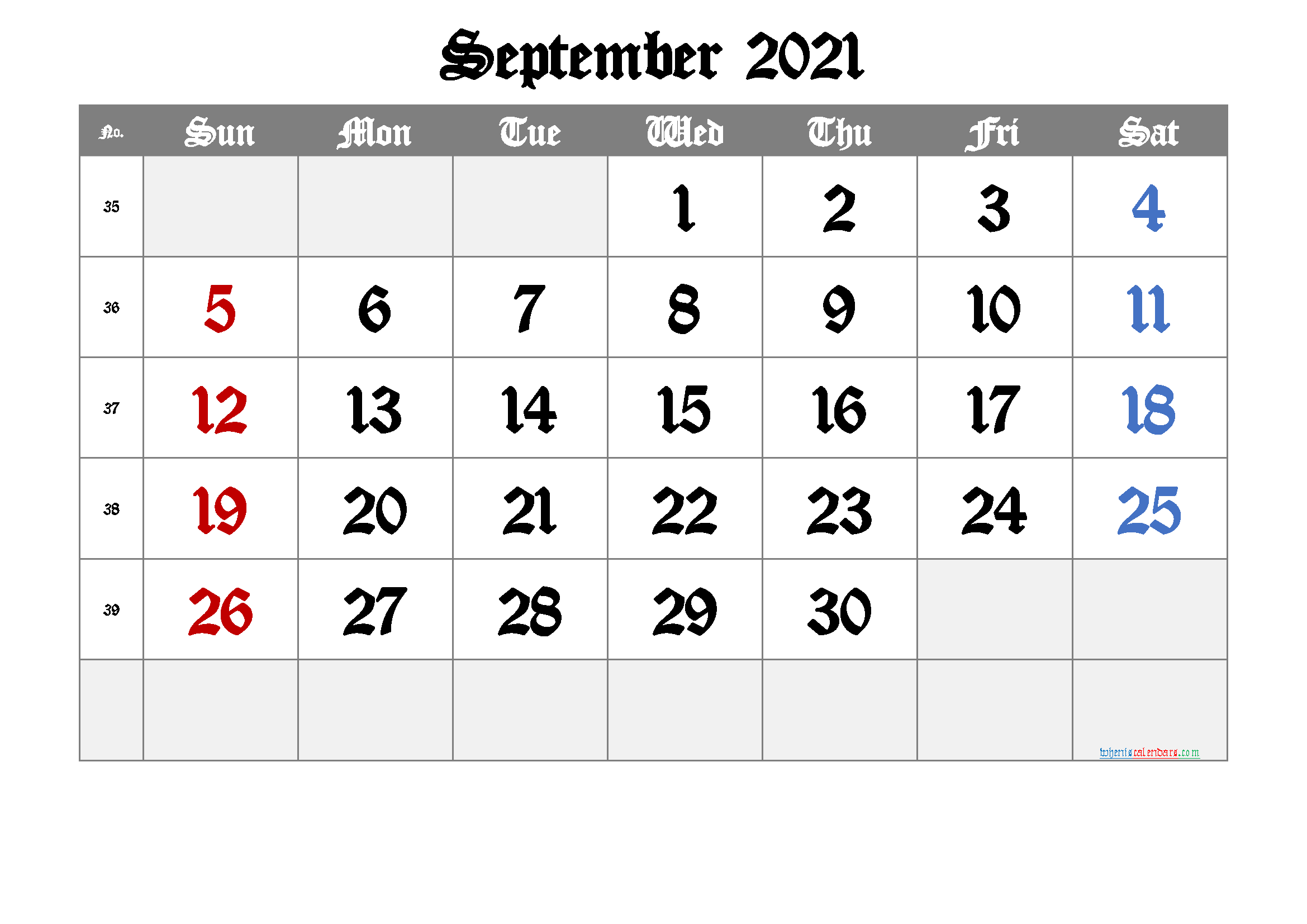 2021 September Free Printable Calendar