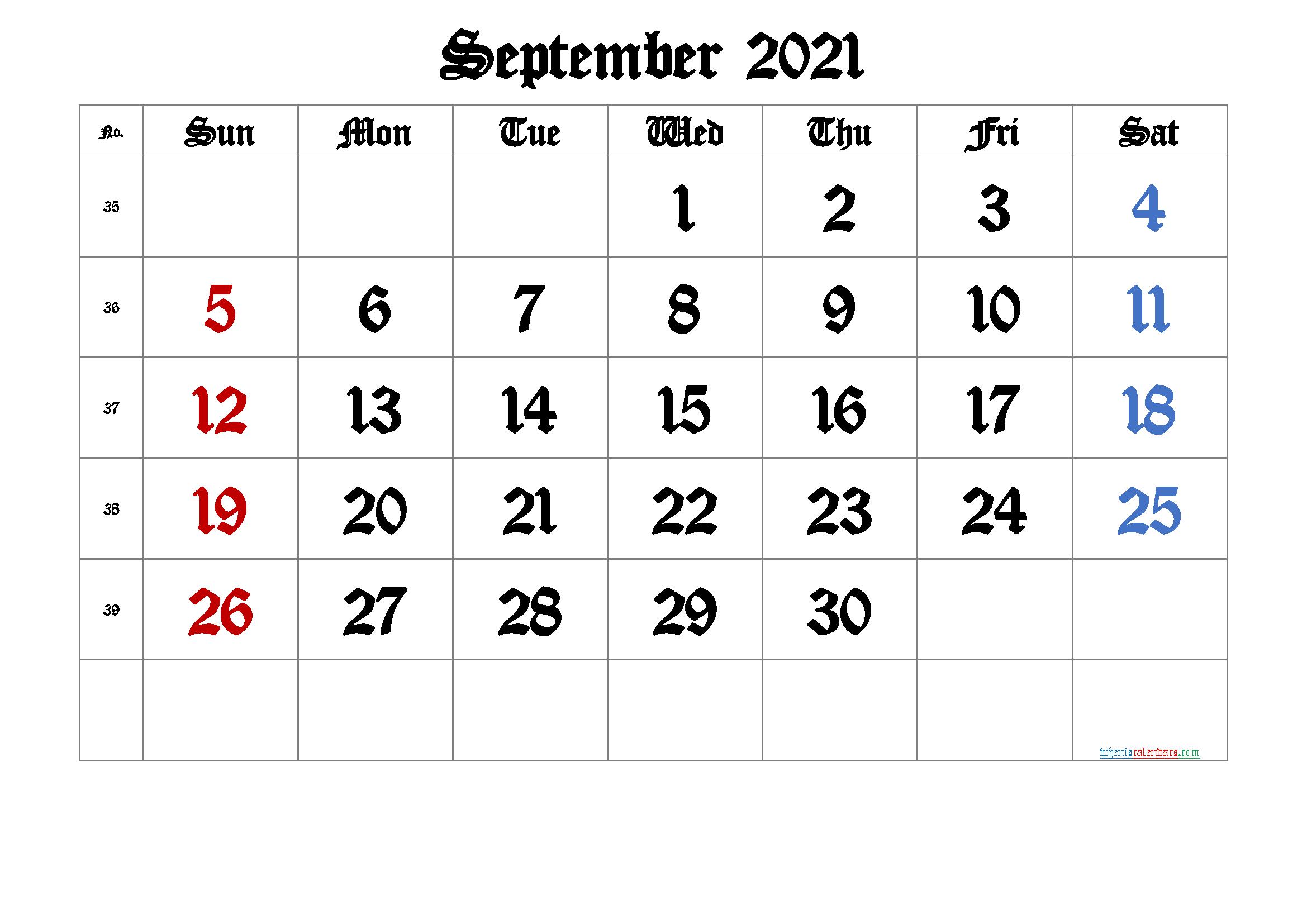 September 2021 Printable Calendar with Week Numbers