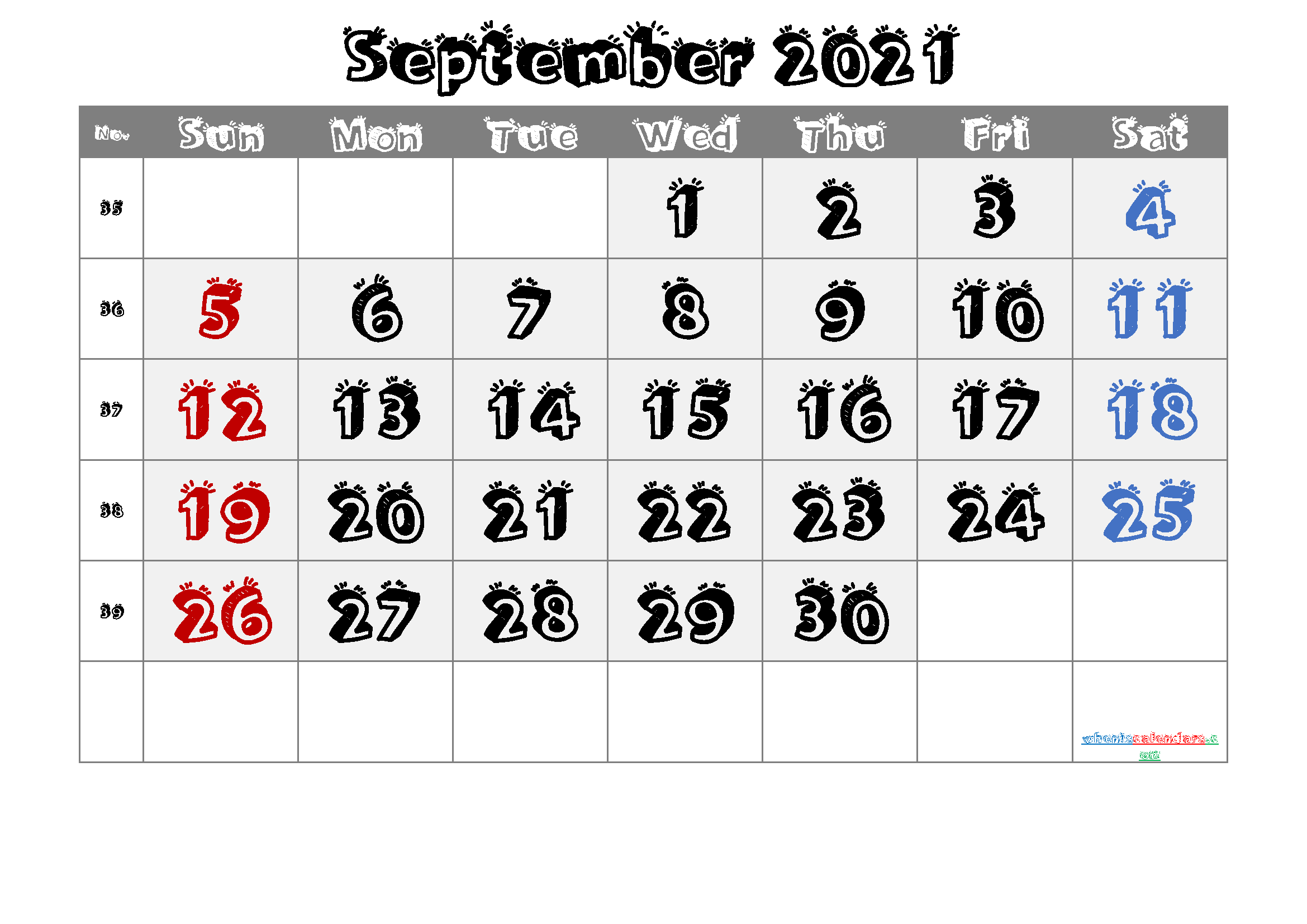 September 2021 Printable Calendar with Week Numbers