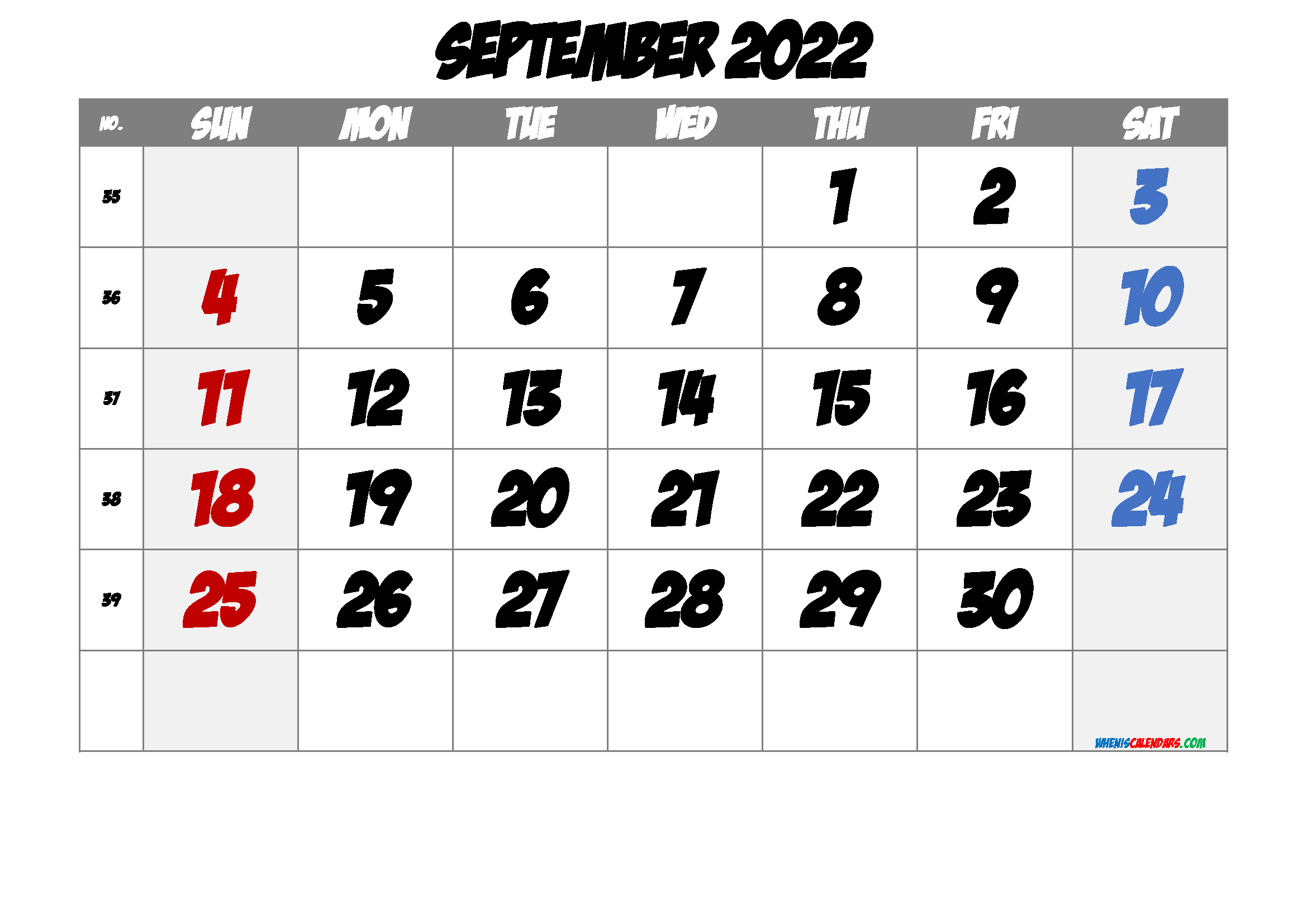 September 2022 Printable Calendar with Week Numbers