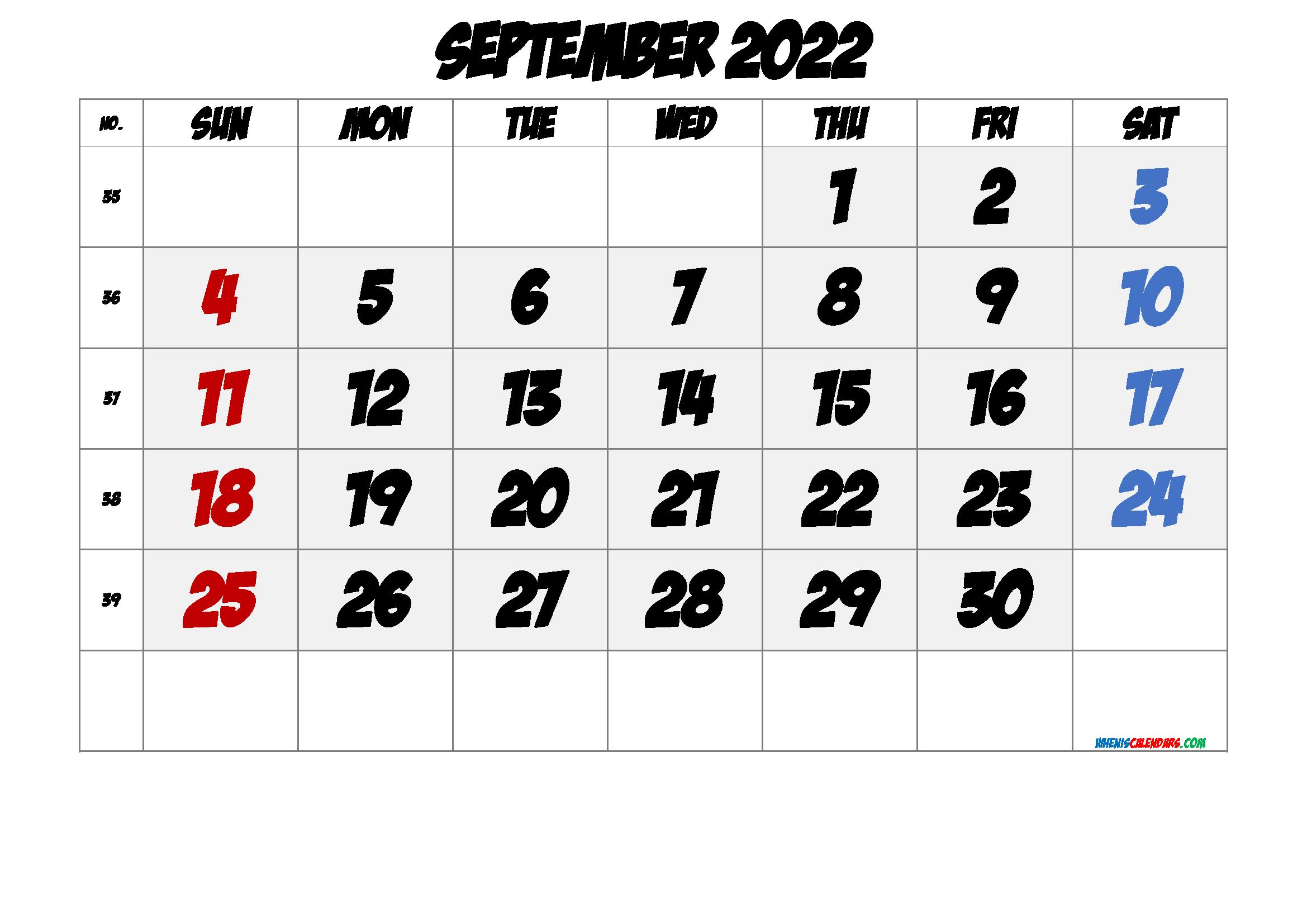 Free Printable September 2022 Calendar with Week Numbers