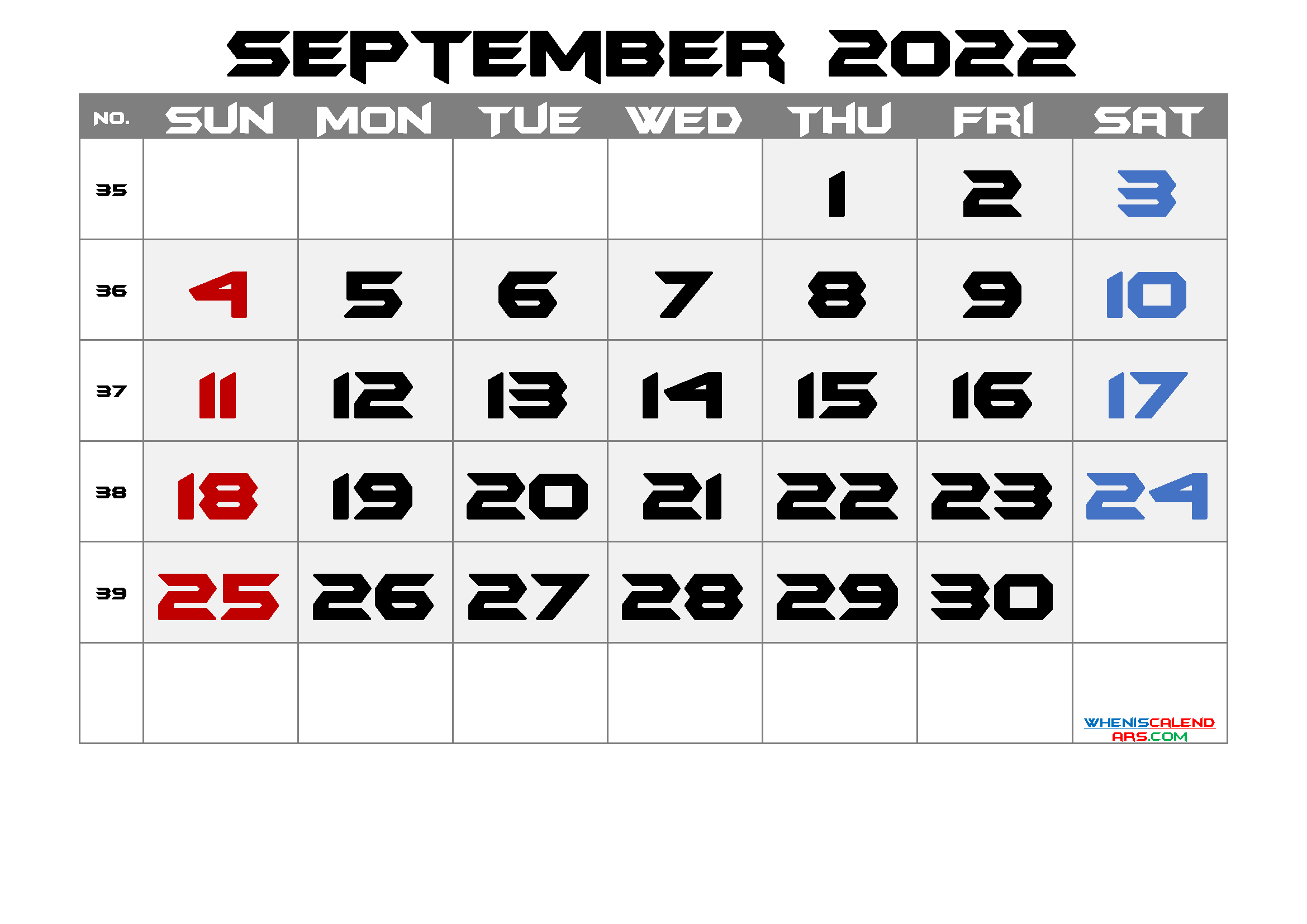 Free September 2022 Calendar with Week Numbers