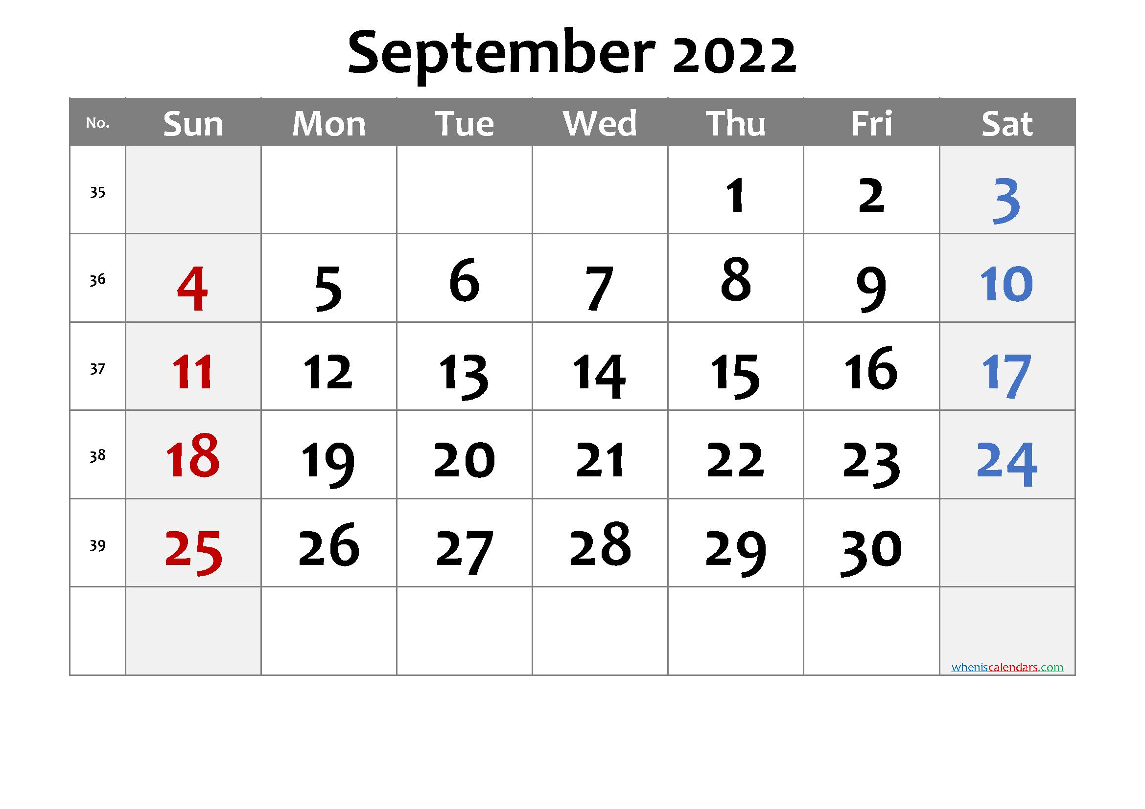 Printable Calendar September 2022