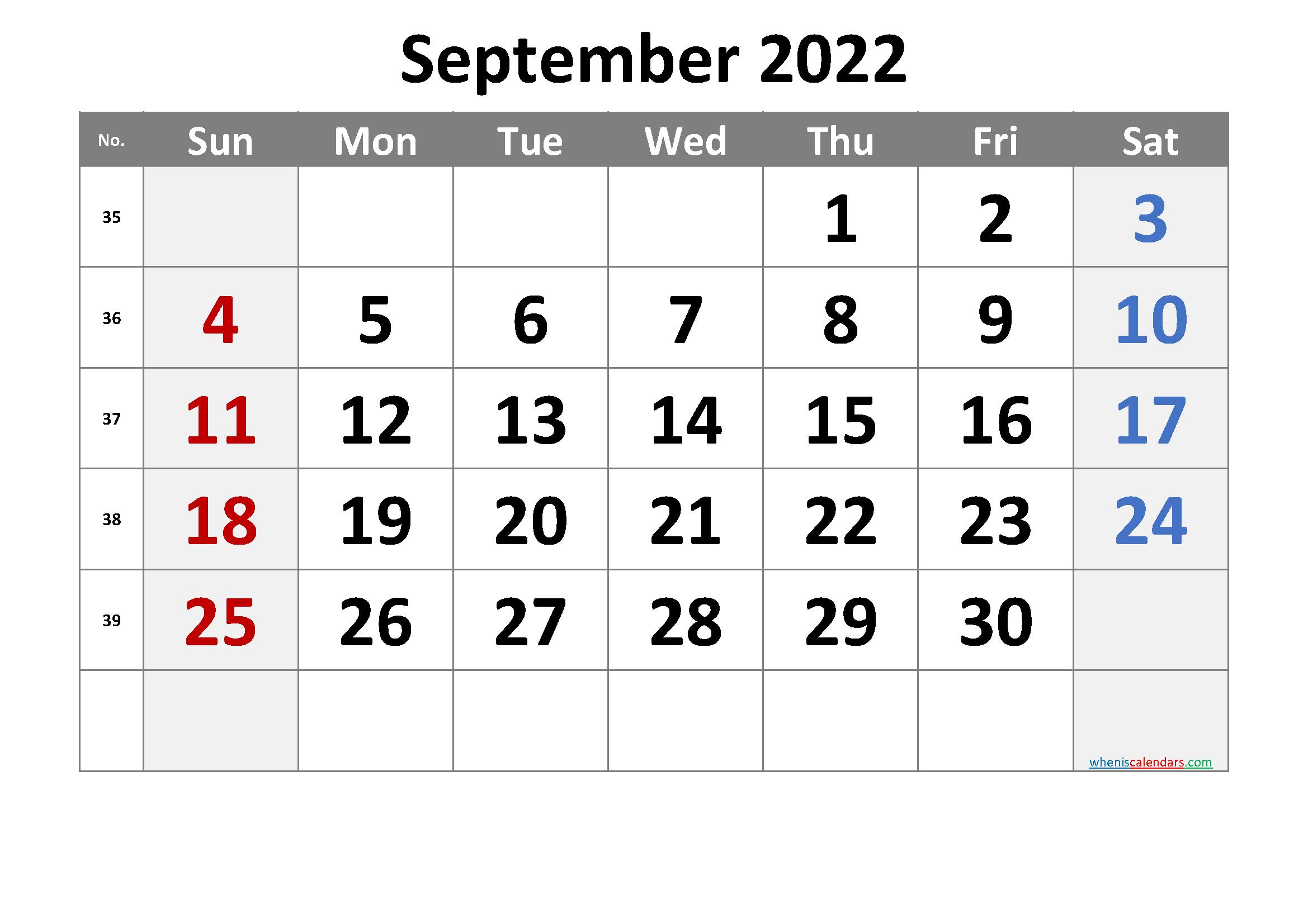 September 2022 Printable Calendar with Week Numbers
