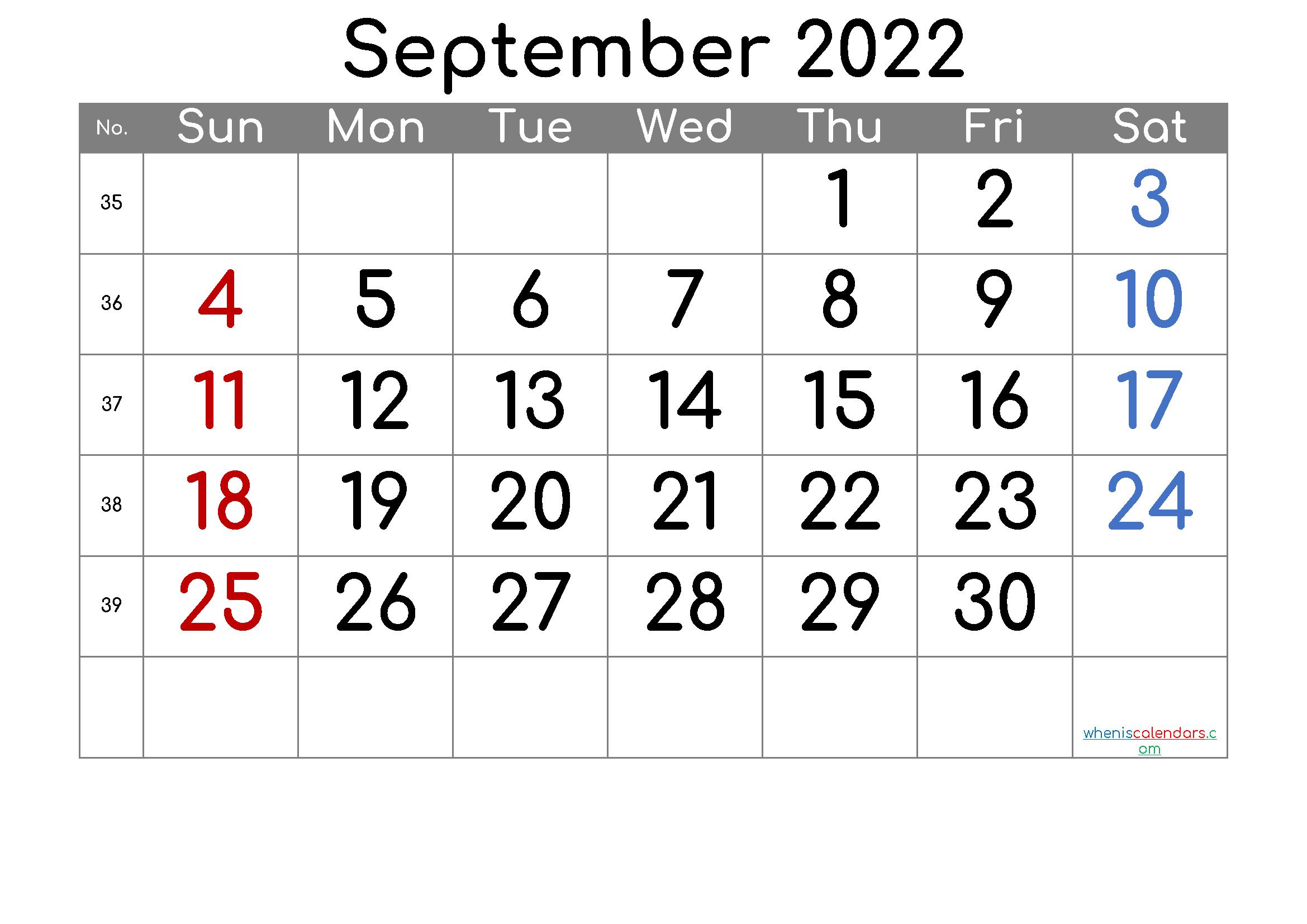 September 2022 Printable Calendar