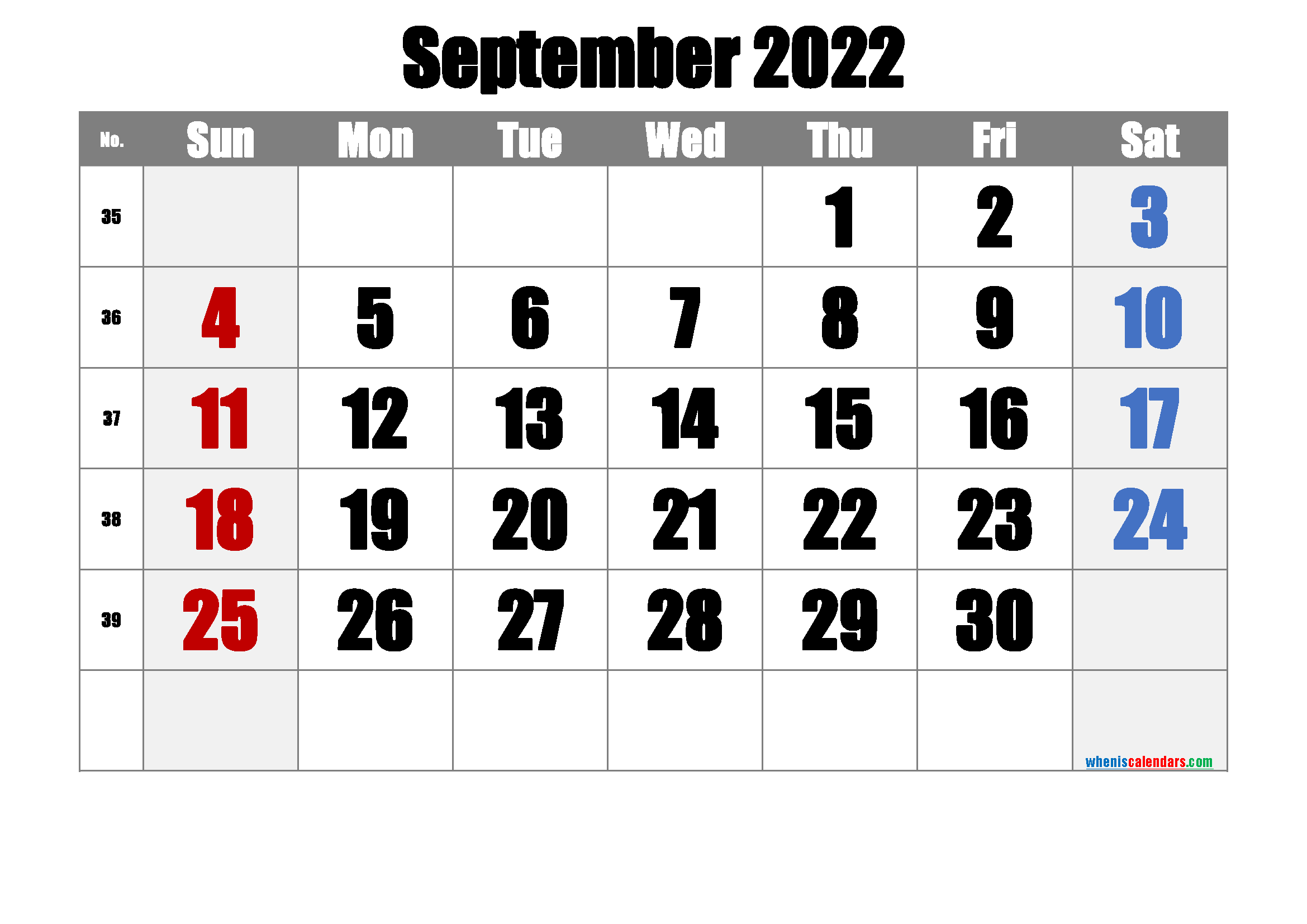Free September 2022 Calendar