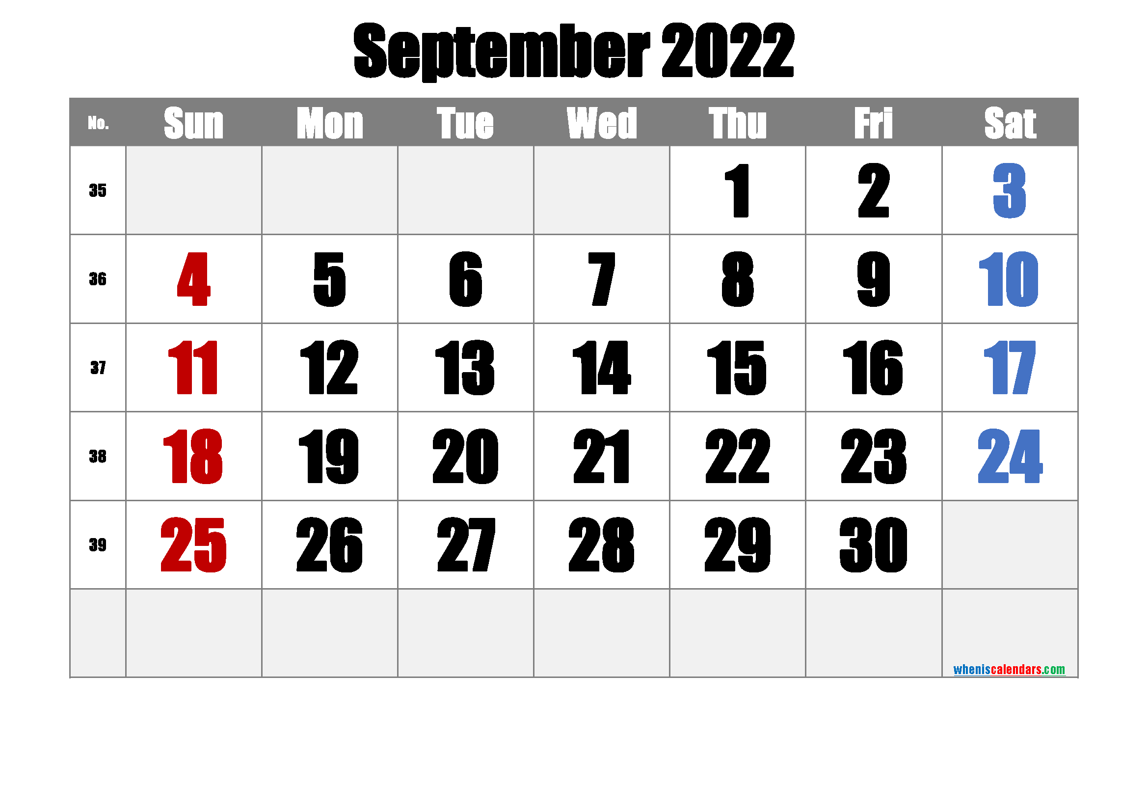 Free Printable September 2022 Calendar with Week Numbers