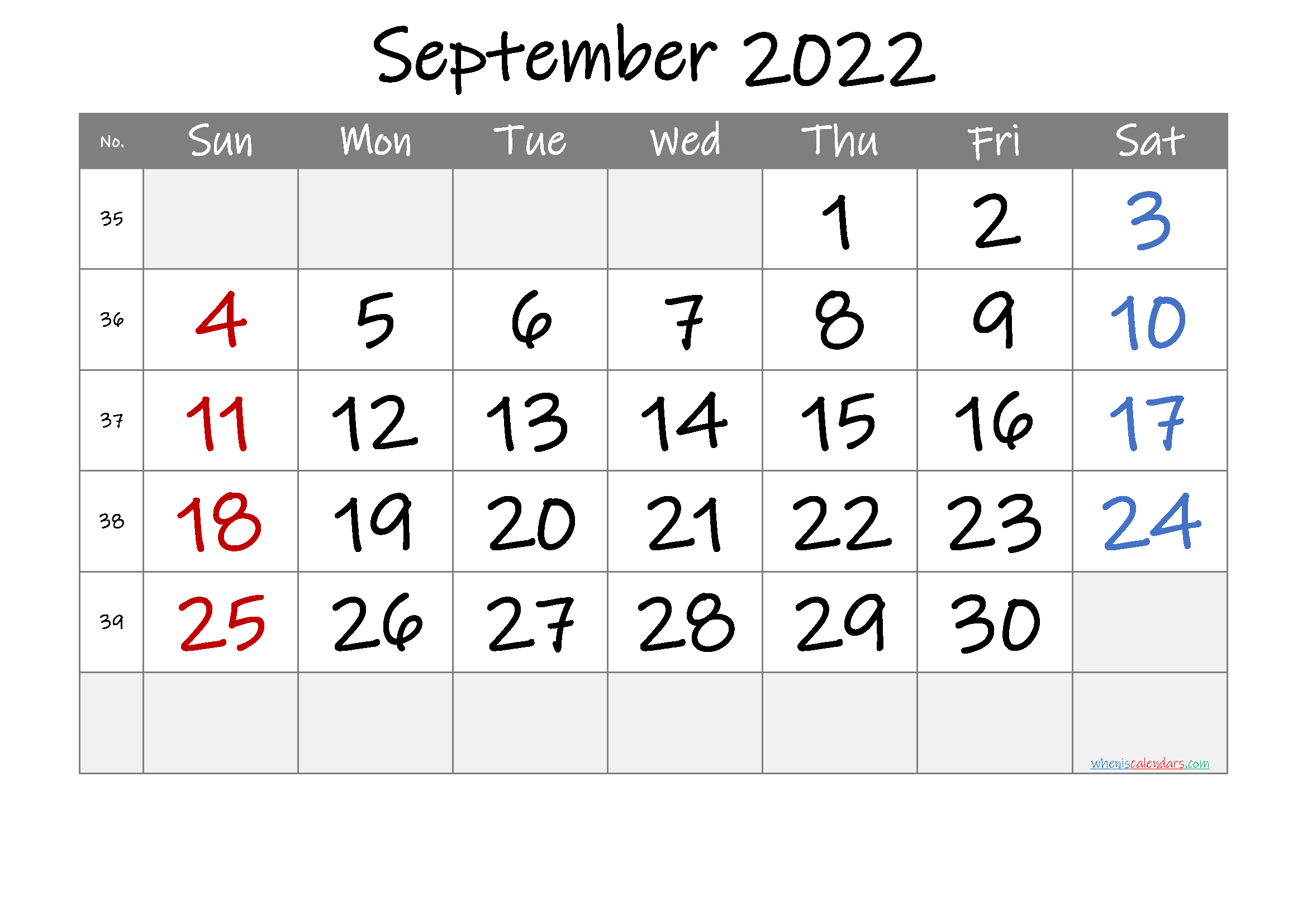 Printable September 2022 Calendar with Week Numbers