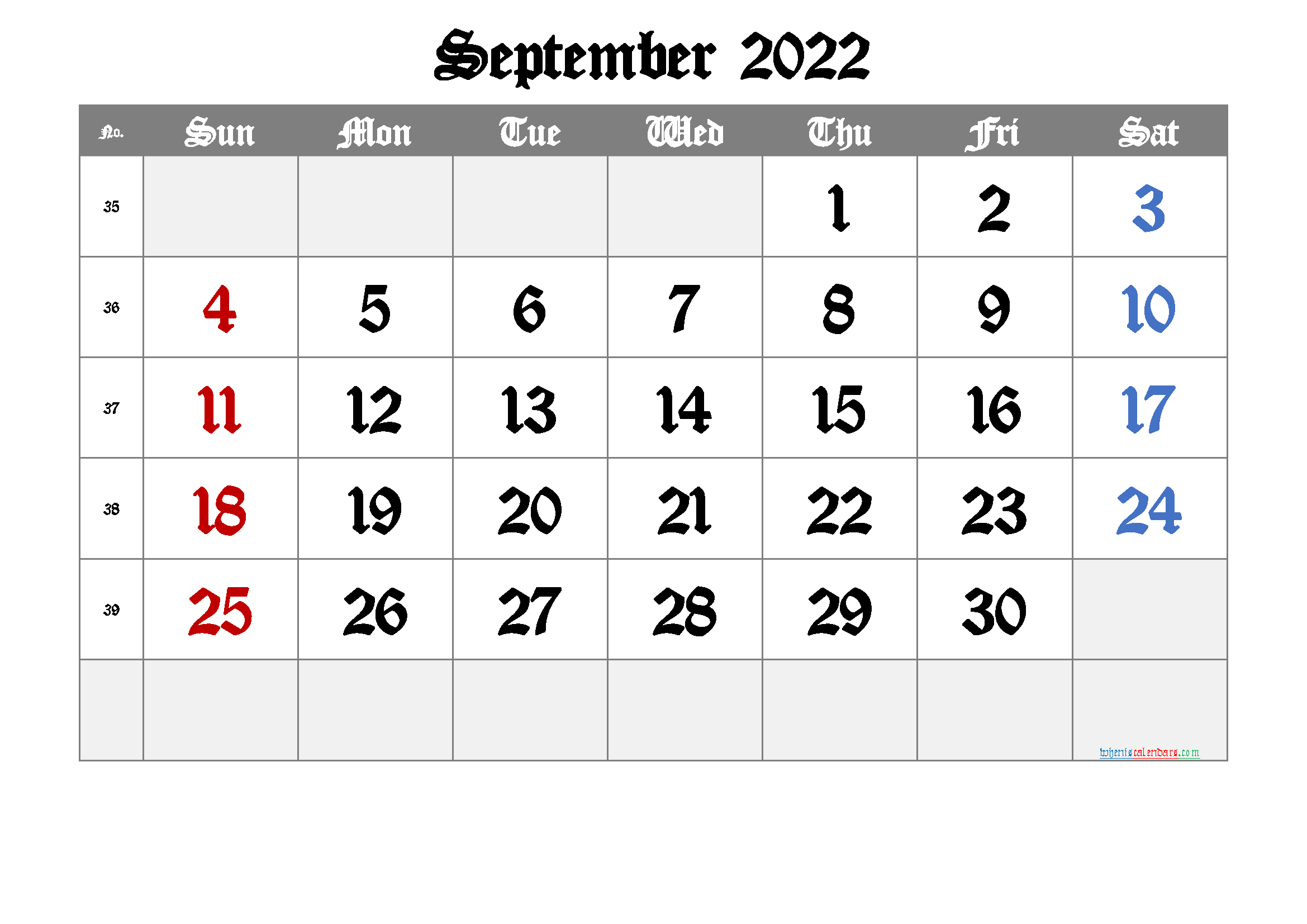 2022 September Free Printable Calendar