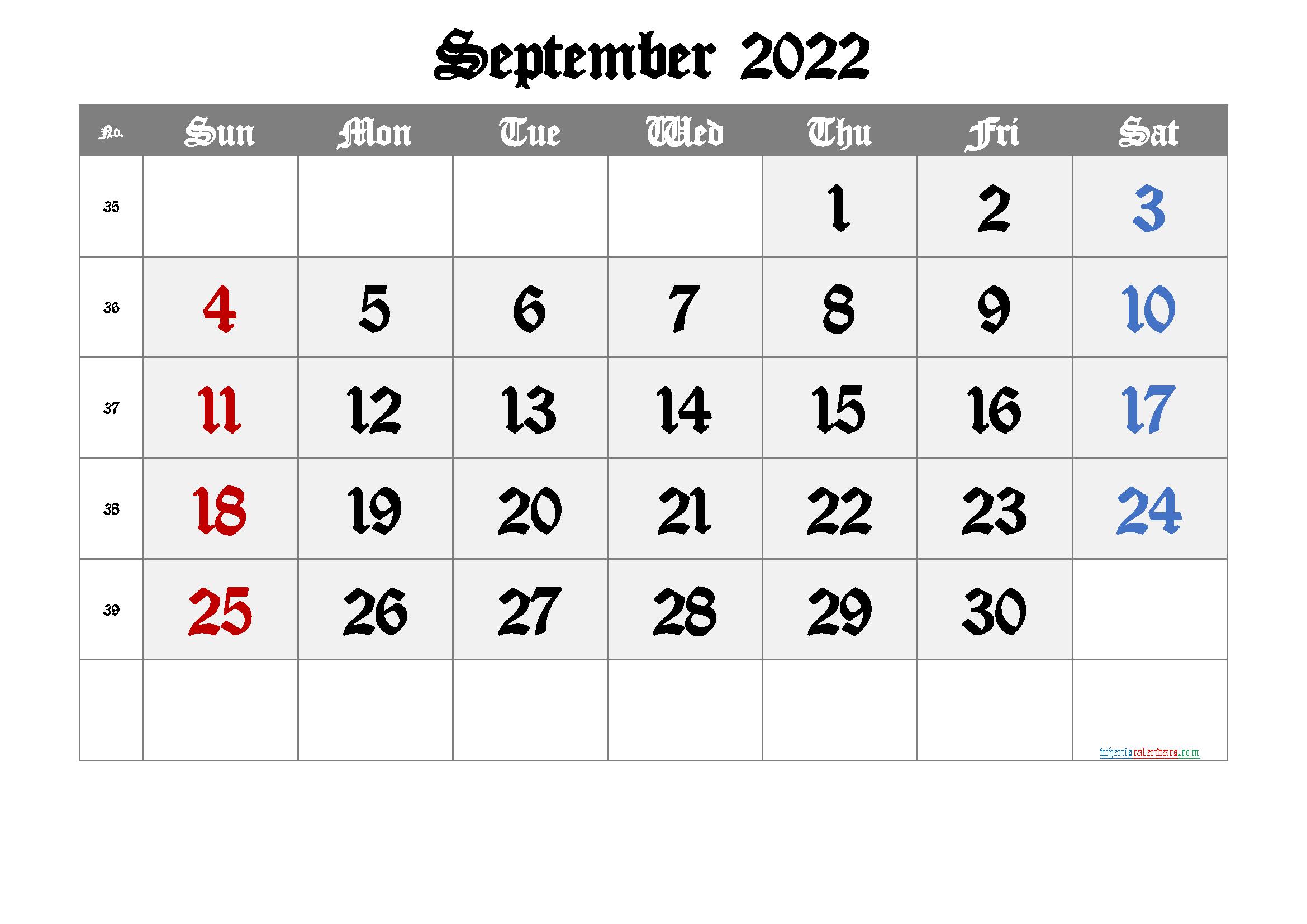 Free September 2022 Calendar with Week Numbers