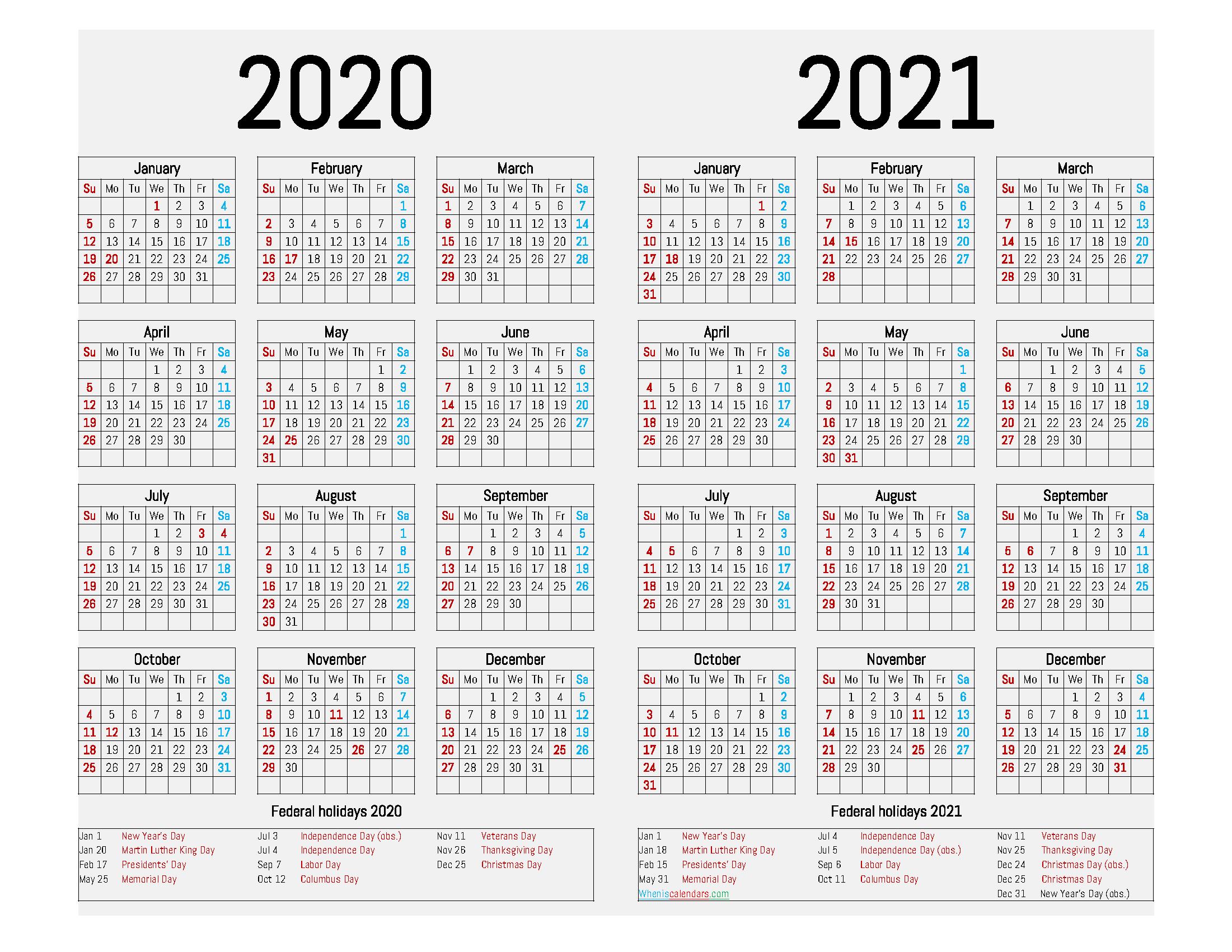 2020 and 2021 Calendar Printable with Holidays