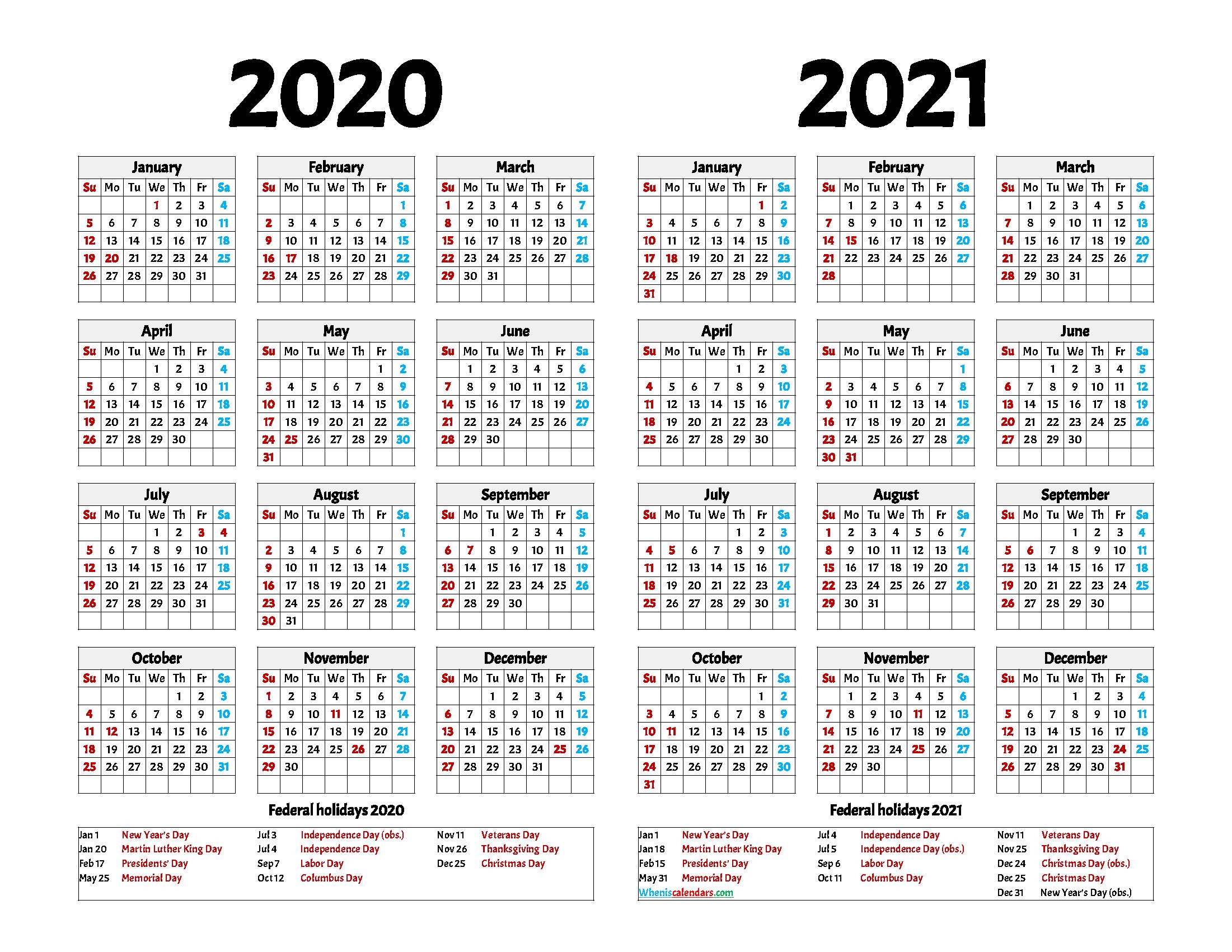 Printable Calendar 2020 and 2021