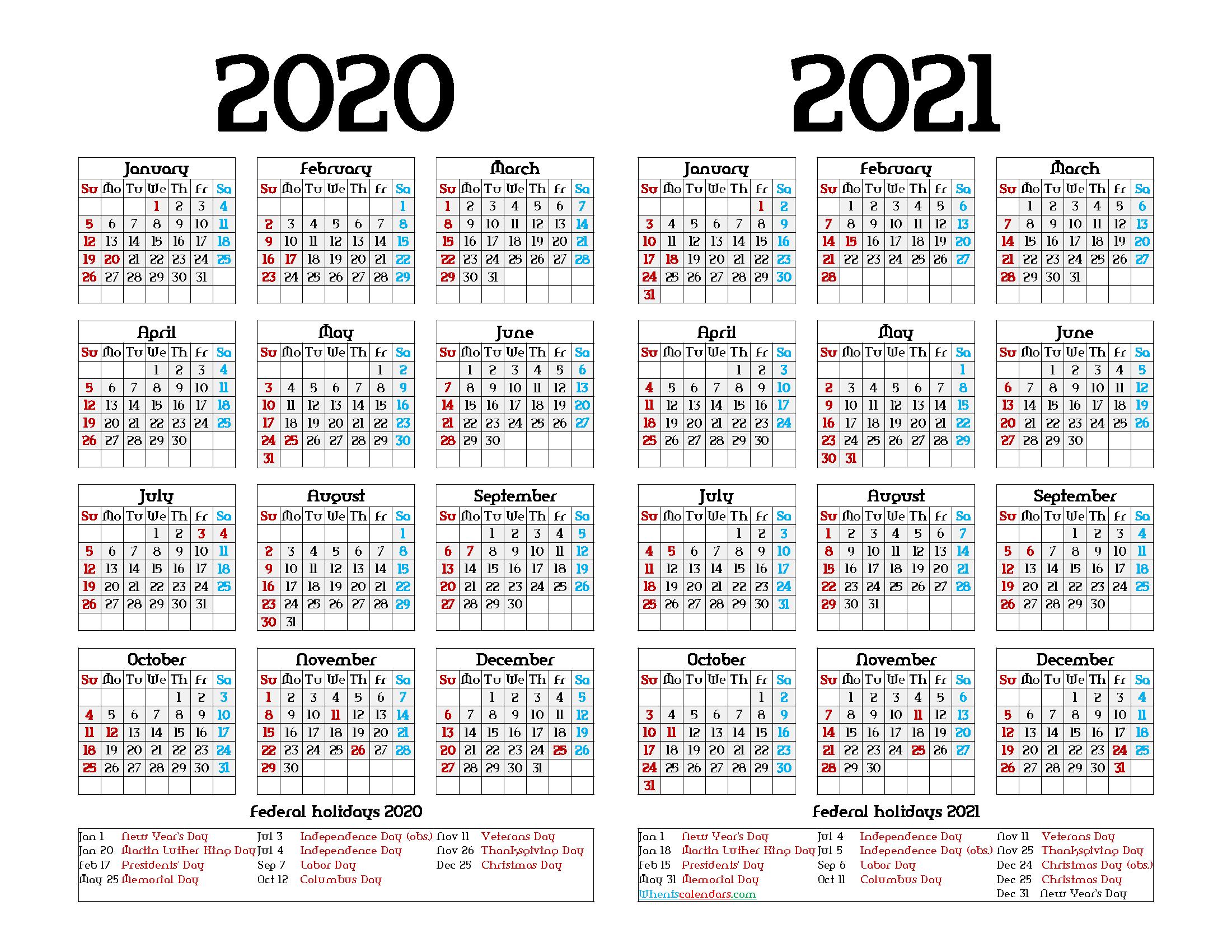 Printable 2020 and 2021 Calendar with Holidays