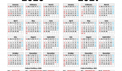 2020 2021 Calendar Printable with Holidays