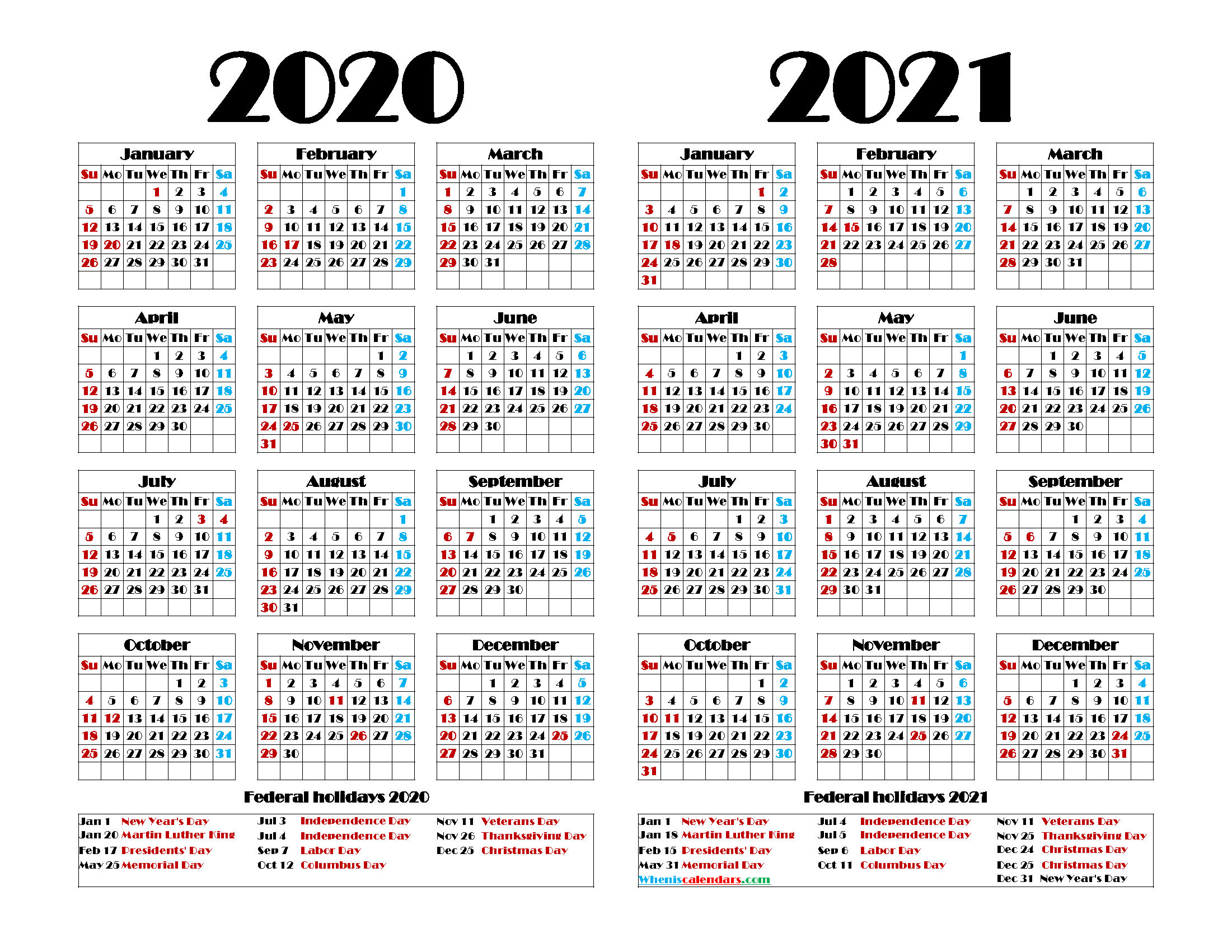 Printable 2020 2021 Calendar with Holidays