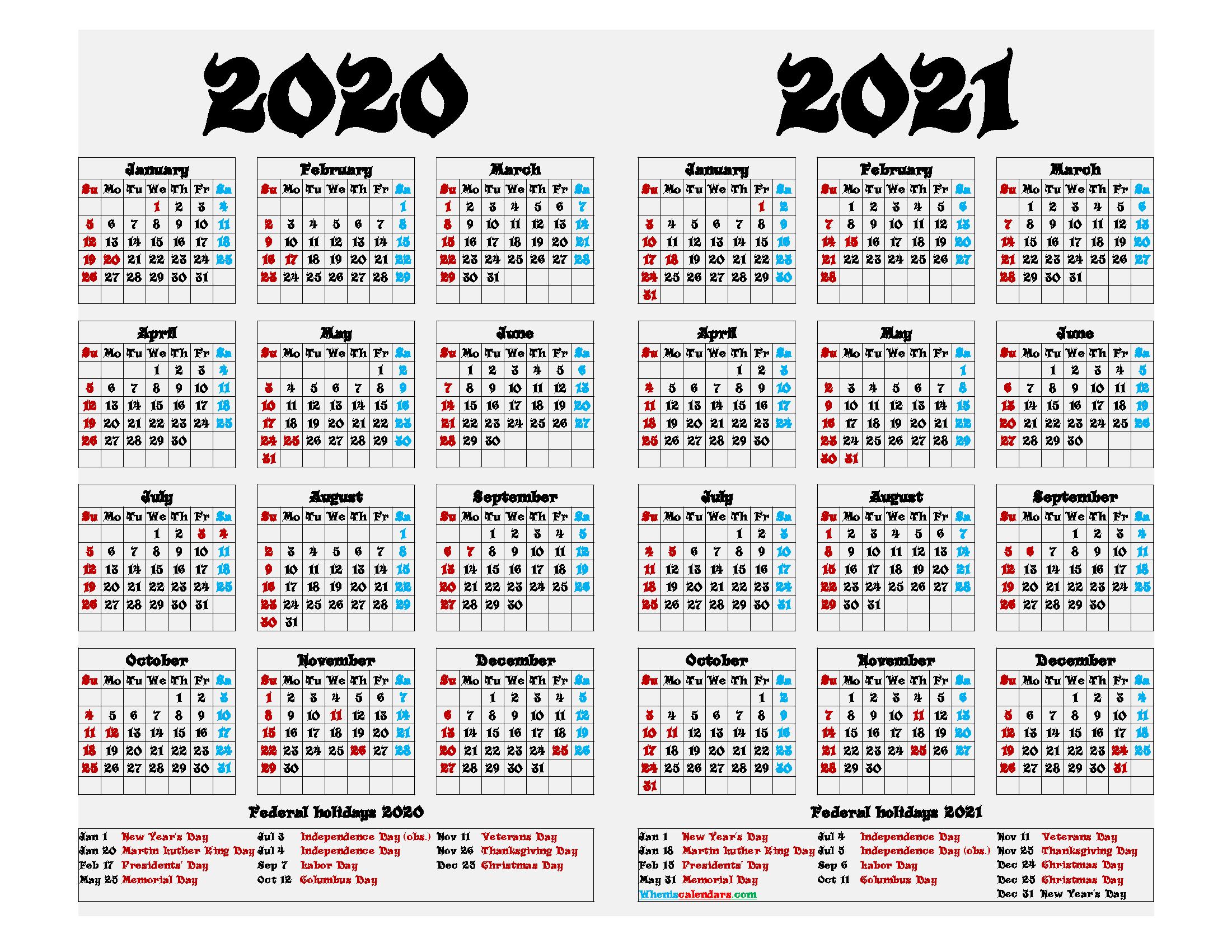 2020 and 2021 Printable Calendar with Holidays