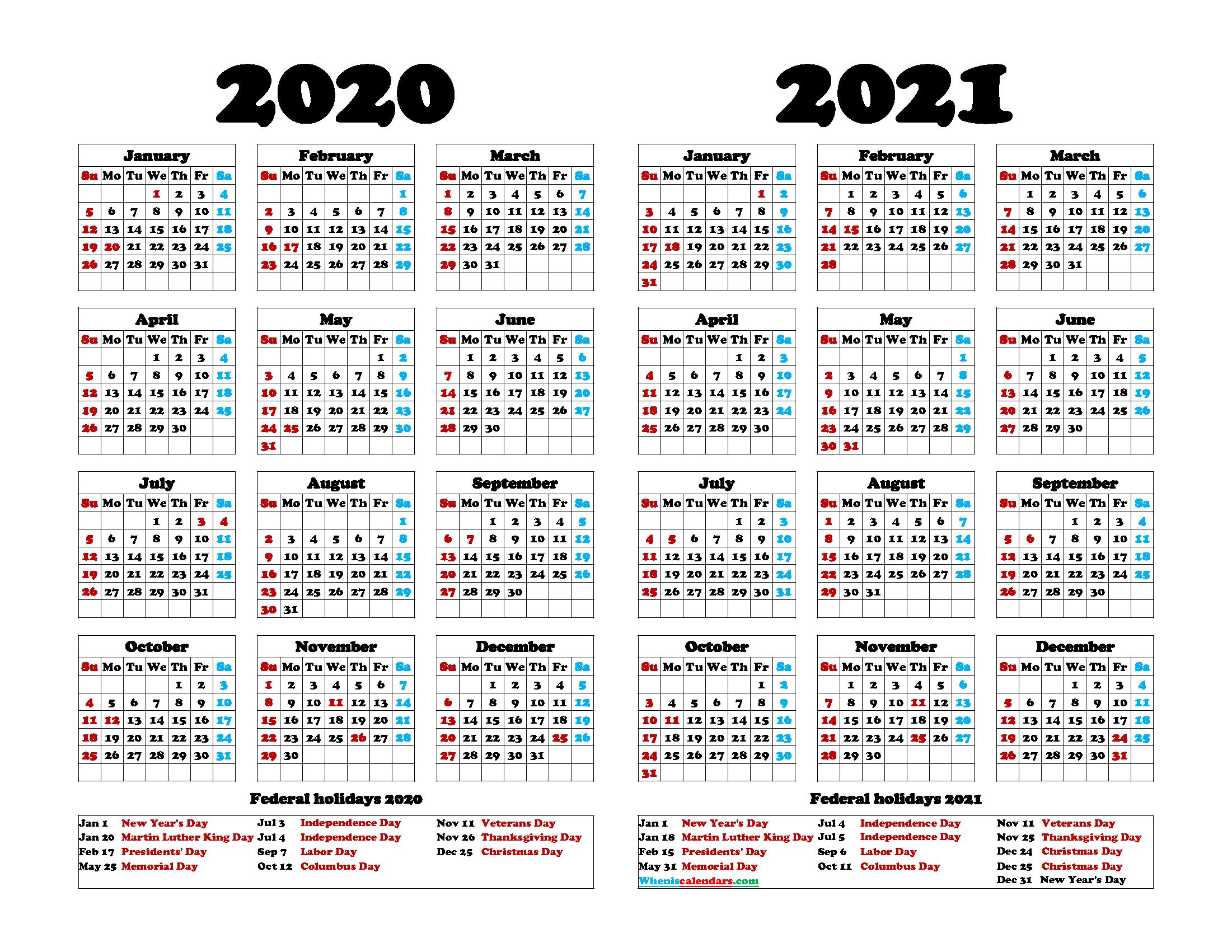 2020 2021 Calendar Printable