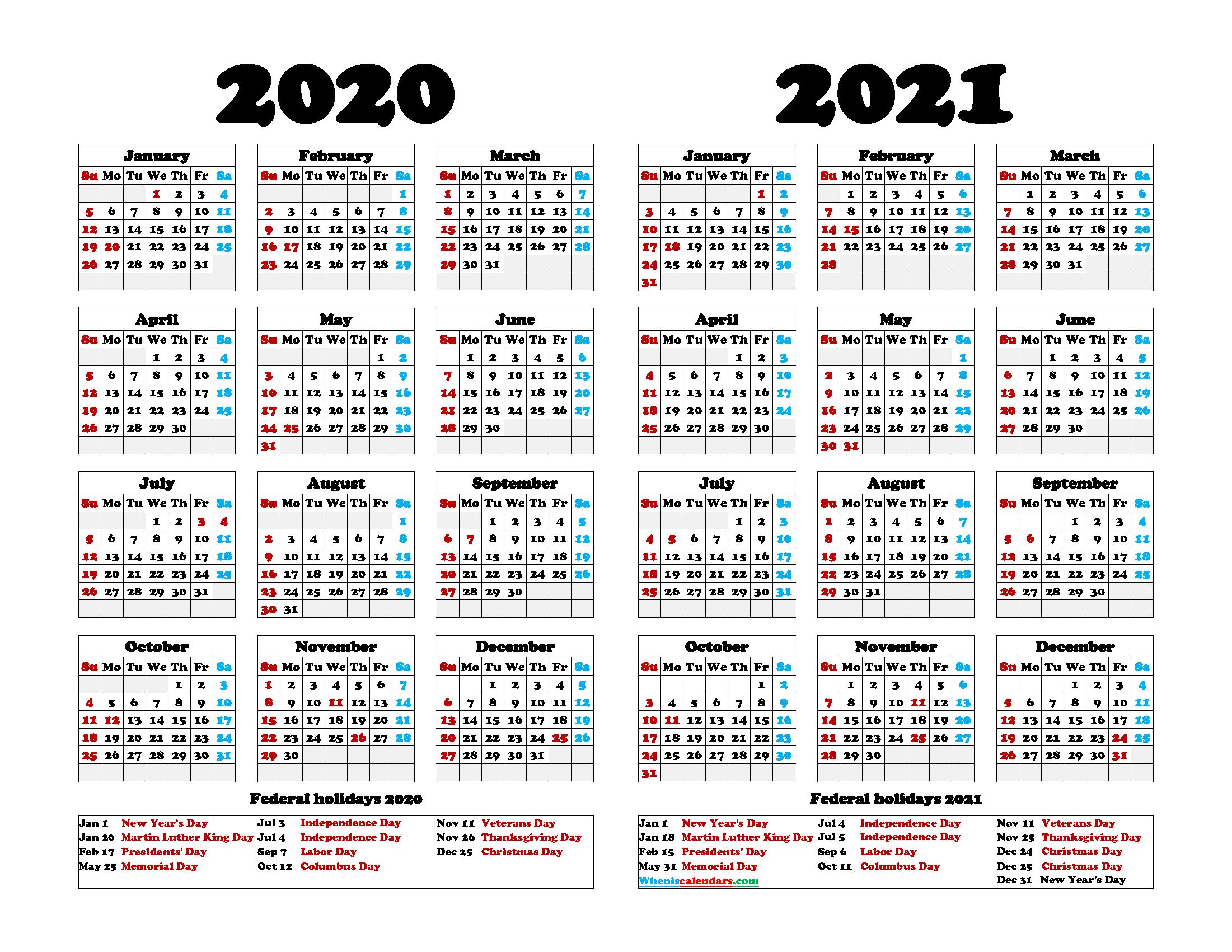 Printable 2020 2021 Calendar